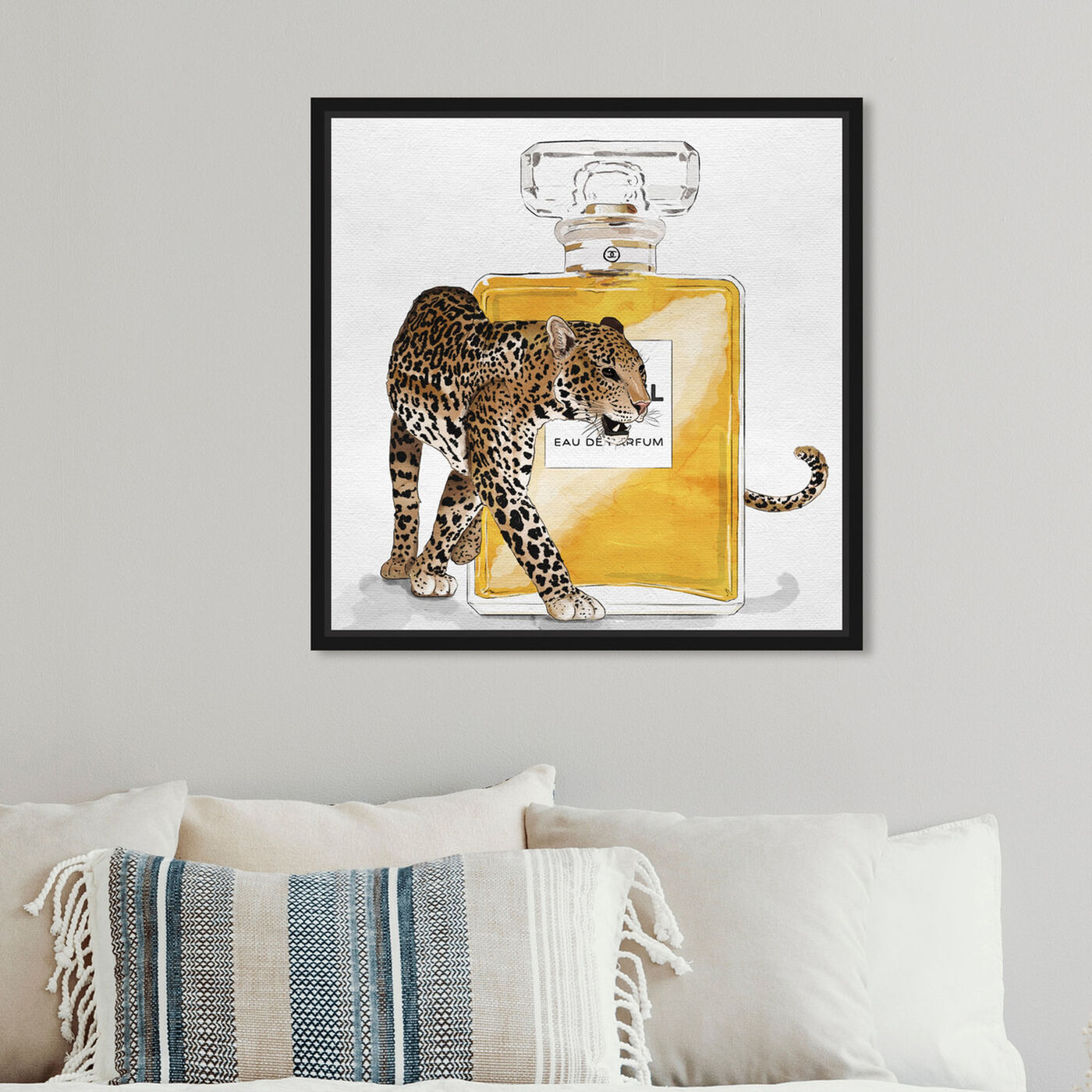 Hanging view of Exotic Love II featuring animals and felines art.
