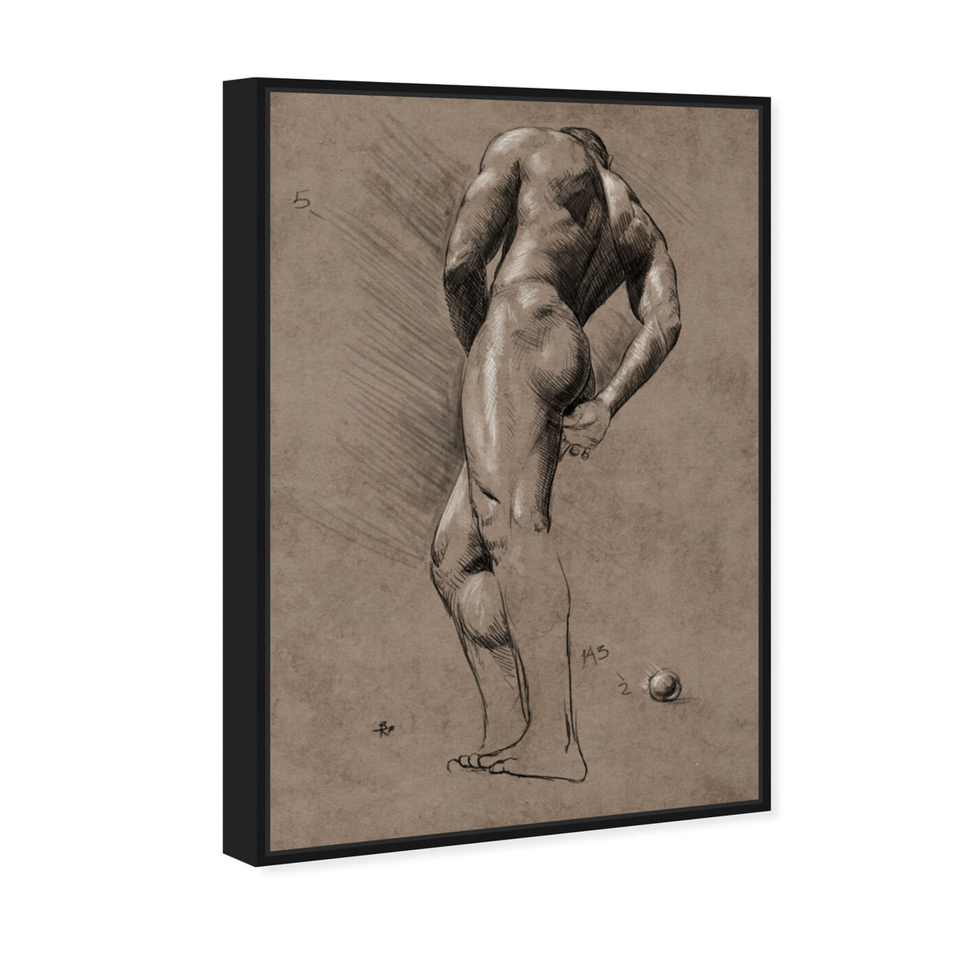 Angled view of Male Figure Study featuring people and portraits and nudes art.