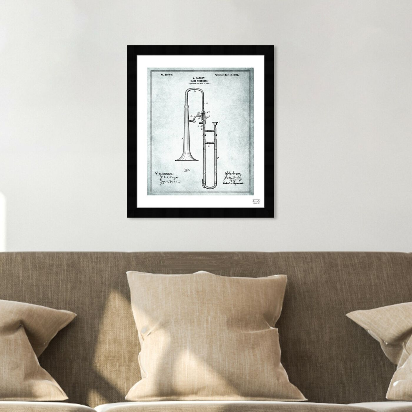 Hanging view of Trombone Musical Instrument 1902 I featuring music and dance and music instruments art.