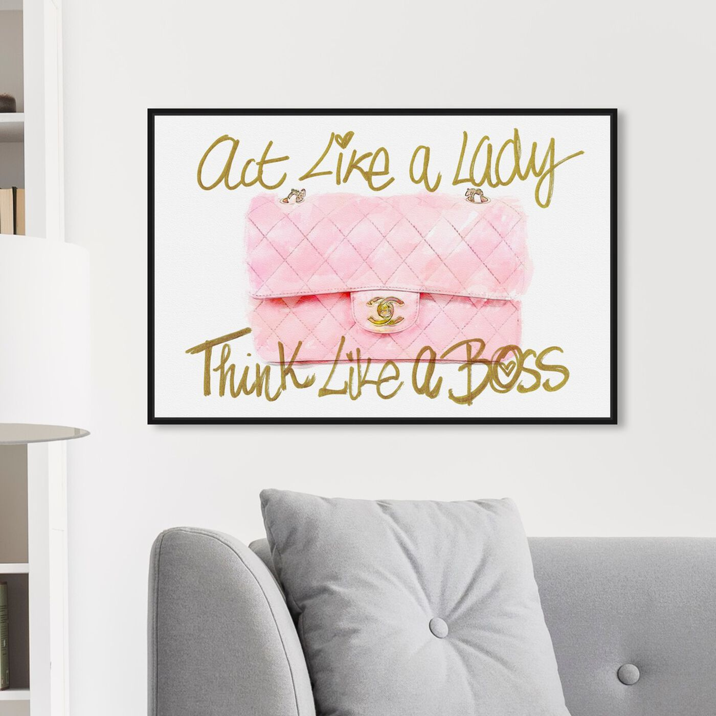 Hanging view of Like A Lady Boss featuring typography and quotes and empowered women quotes and sayings art.