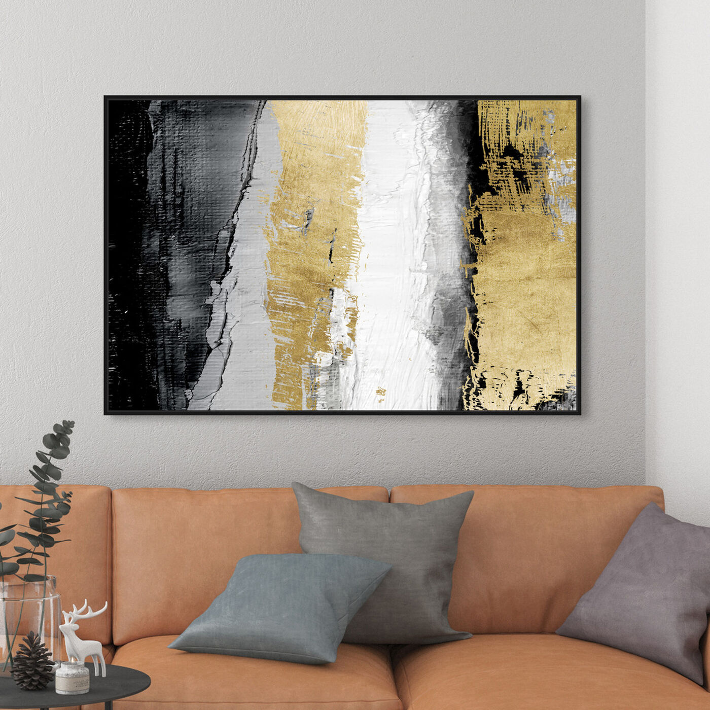 Hanging view of Envision and Elevate Gold featuring abstract and paint art.