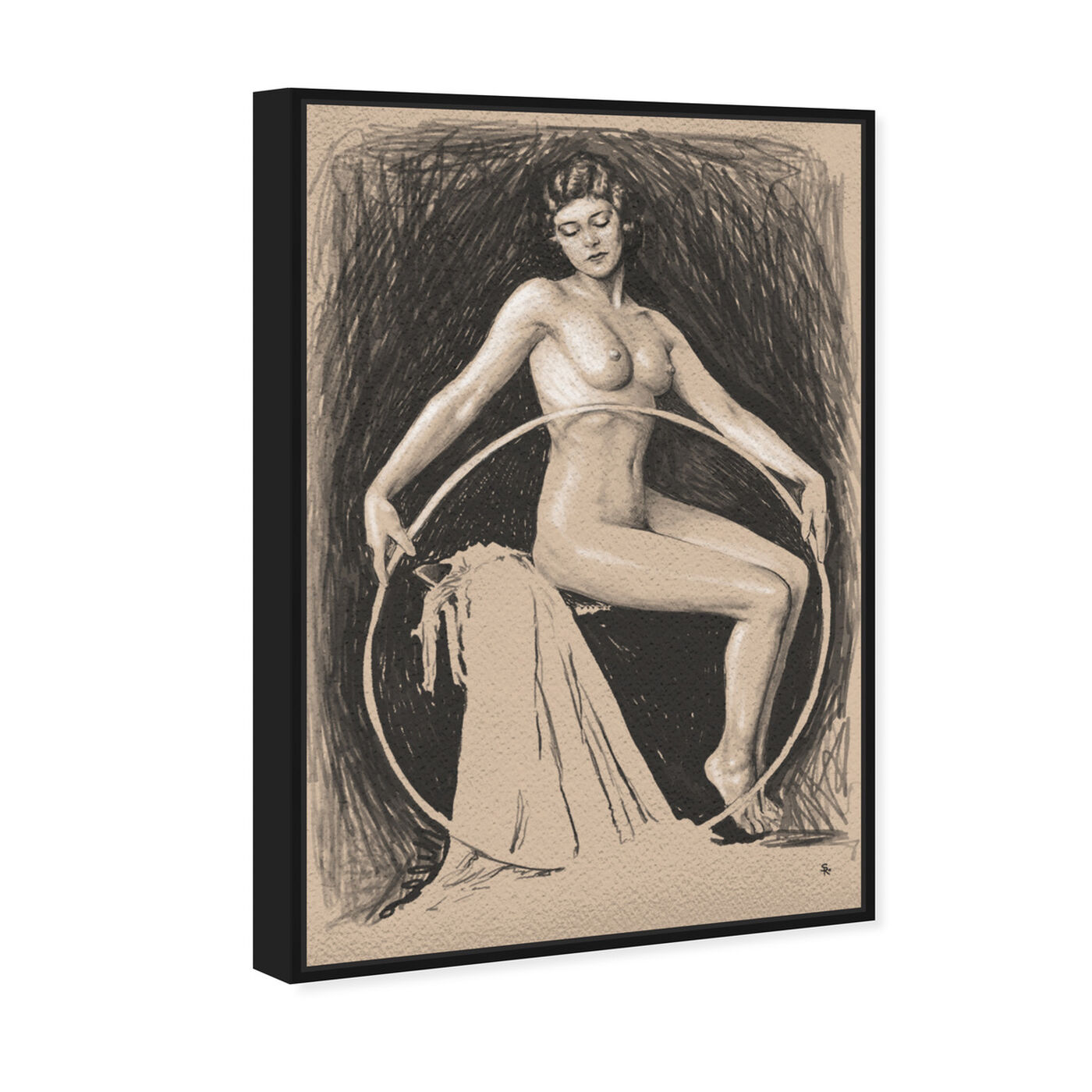 Angled view of Nude Woman with Hoop featuring classic and figurative and nudes art.