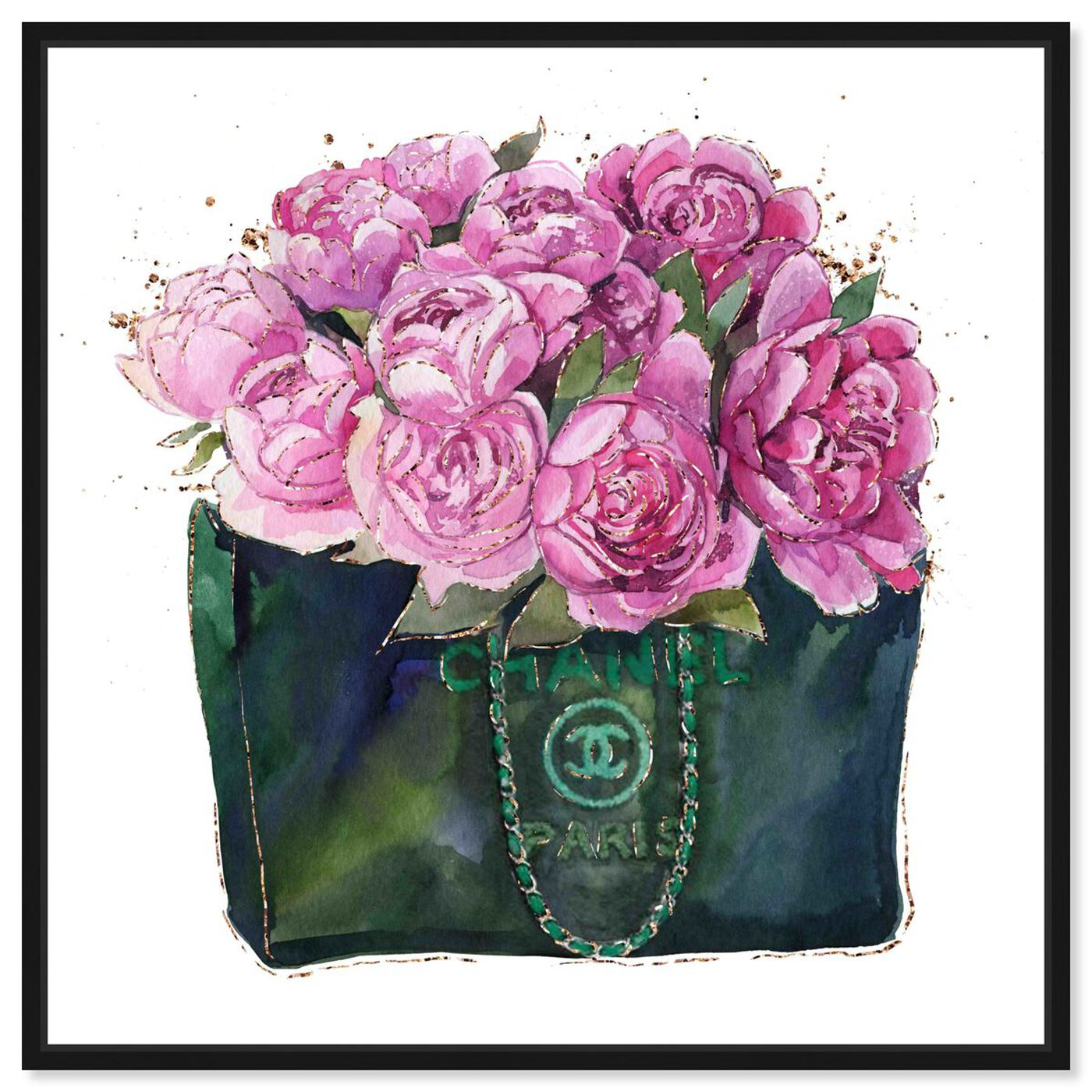 Front view of Floral Fashion bag featuring fashion and glam and handbags art.