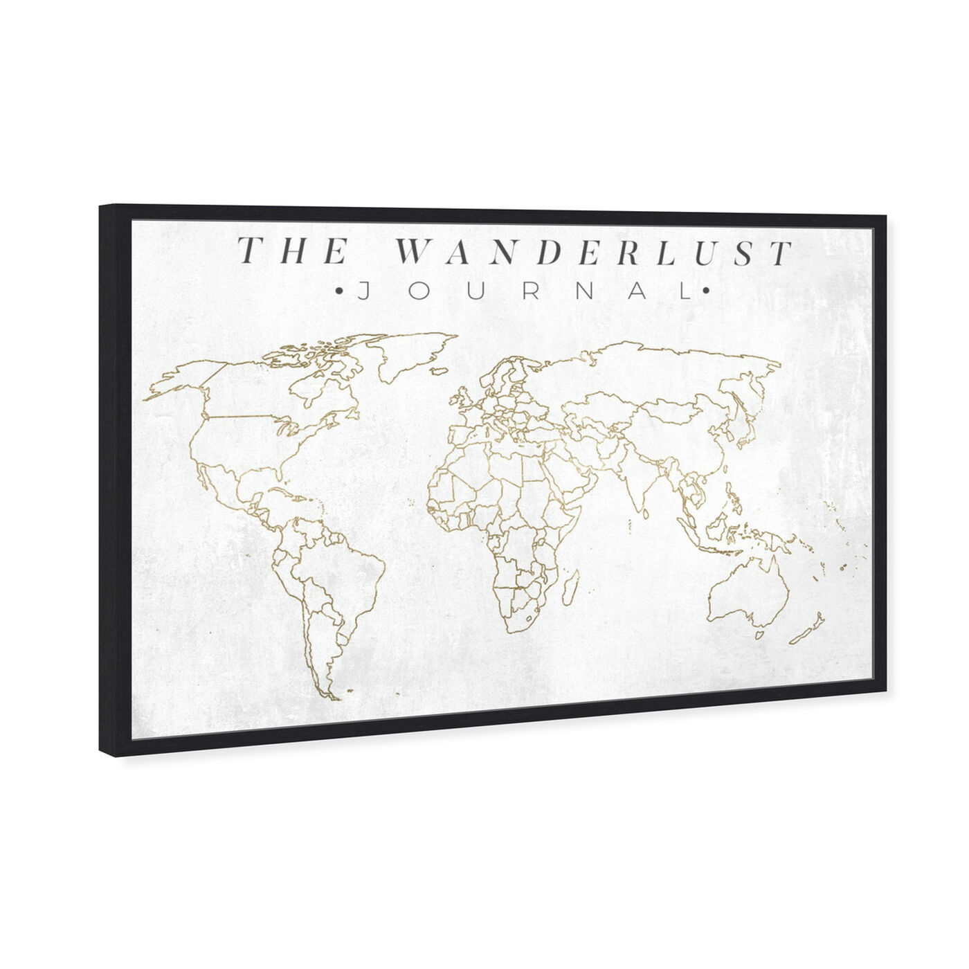 Angled view of The Wanderlust Journal featuring maps and flags and world maps art.