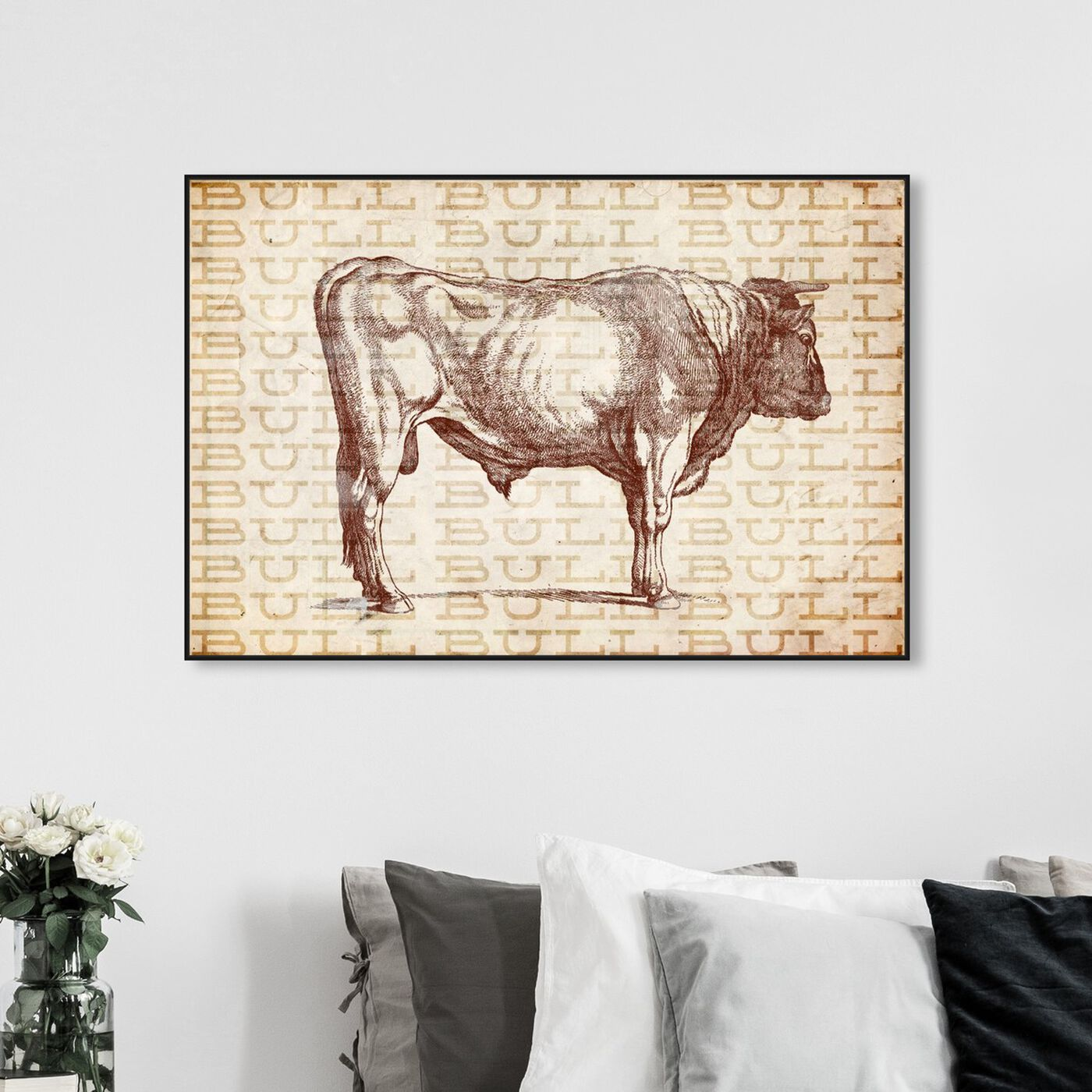 Hanging view of Bull featuring animals and farm animals art.