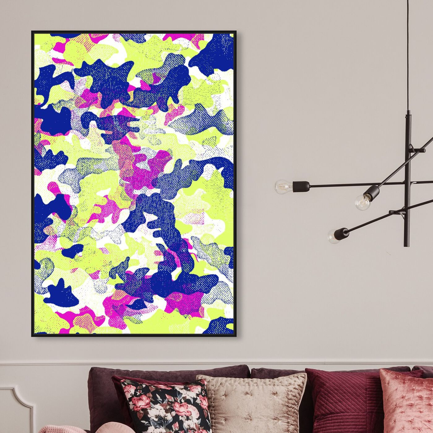 Hanging view of Camo TWO featuring abstract and paint art.