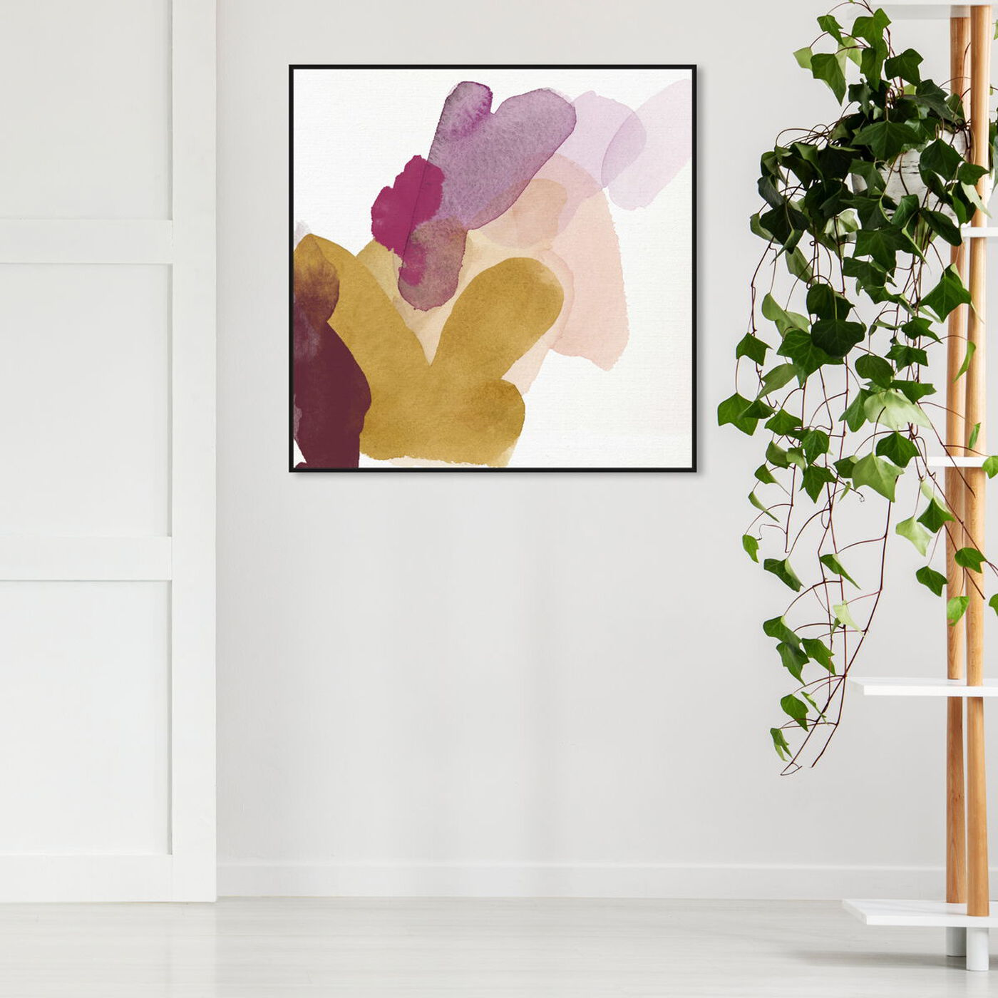 Hanging view of Throwback Strokes featuring abstract and watercolor art.