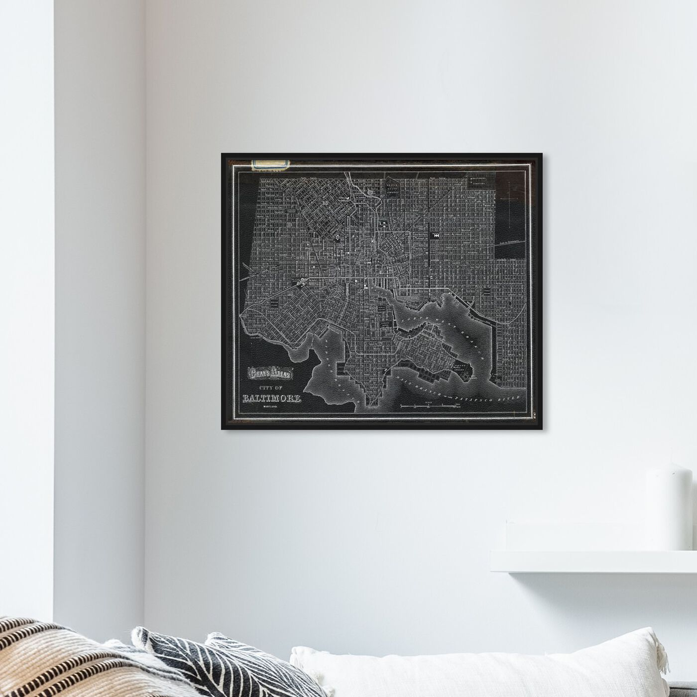Hanging view of City of Baltimore Map 1874 featuring maps and flags and us cities maps art.