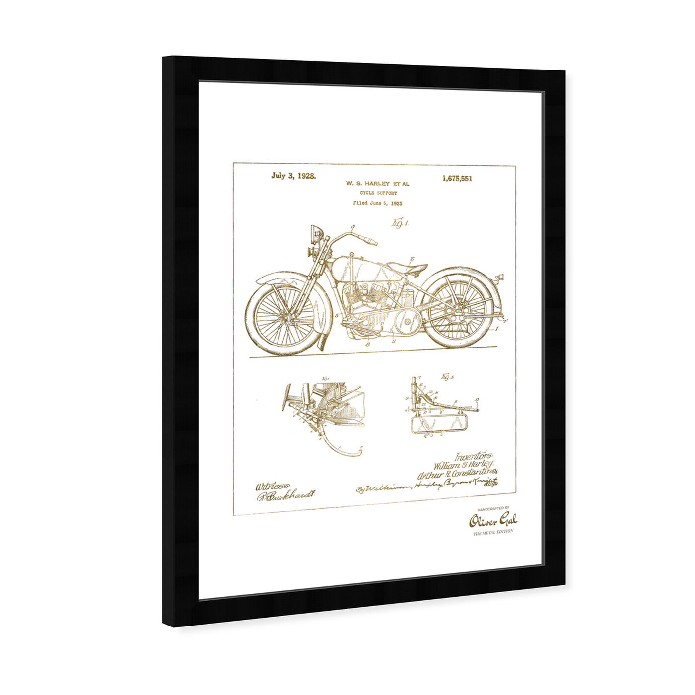 Angled view of Harley, 1928 - Gold featuring transportation and motorcycles art.