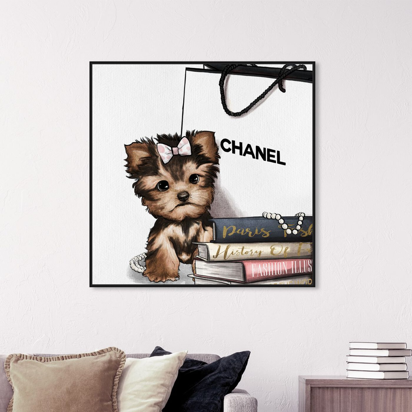 Hanging view of Fashion Book Yorkie Glam featuring animals and dogs and puppies art.