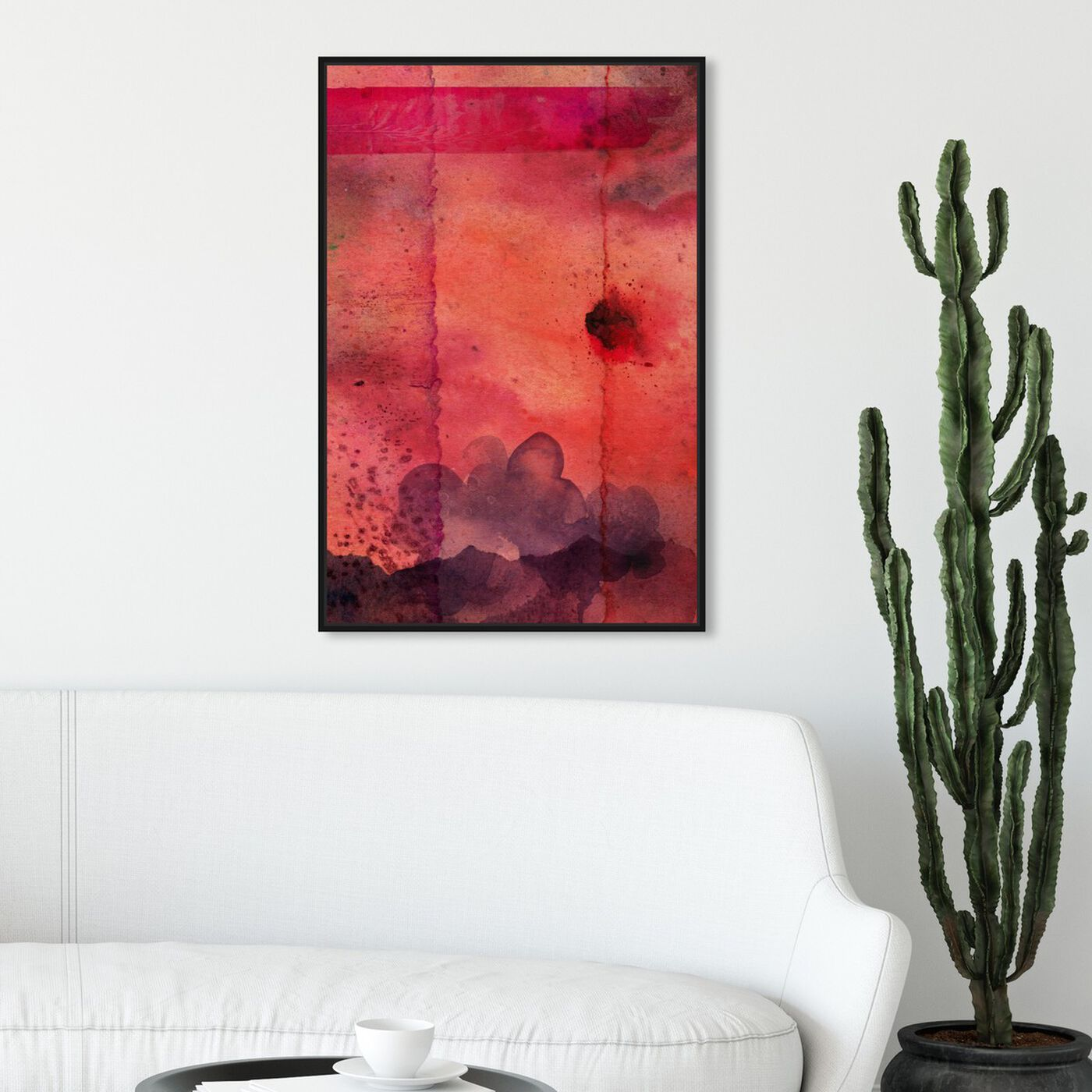 Hanging view of Exotique Myriad featuring abstract and watercolor art.