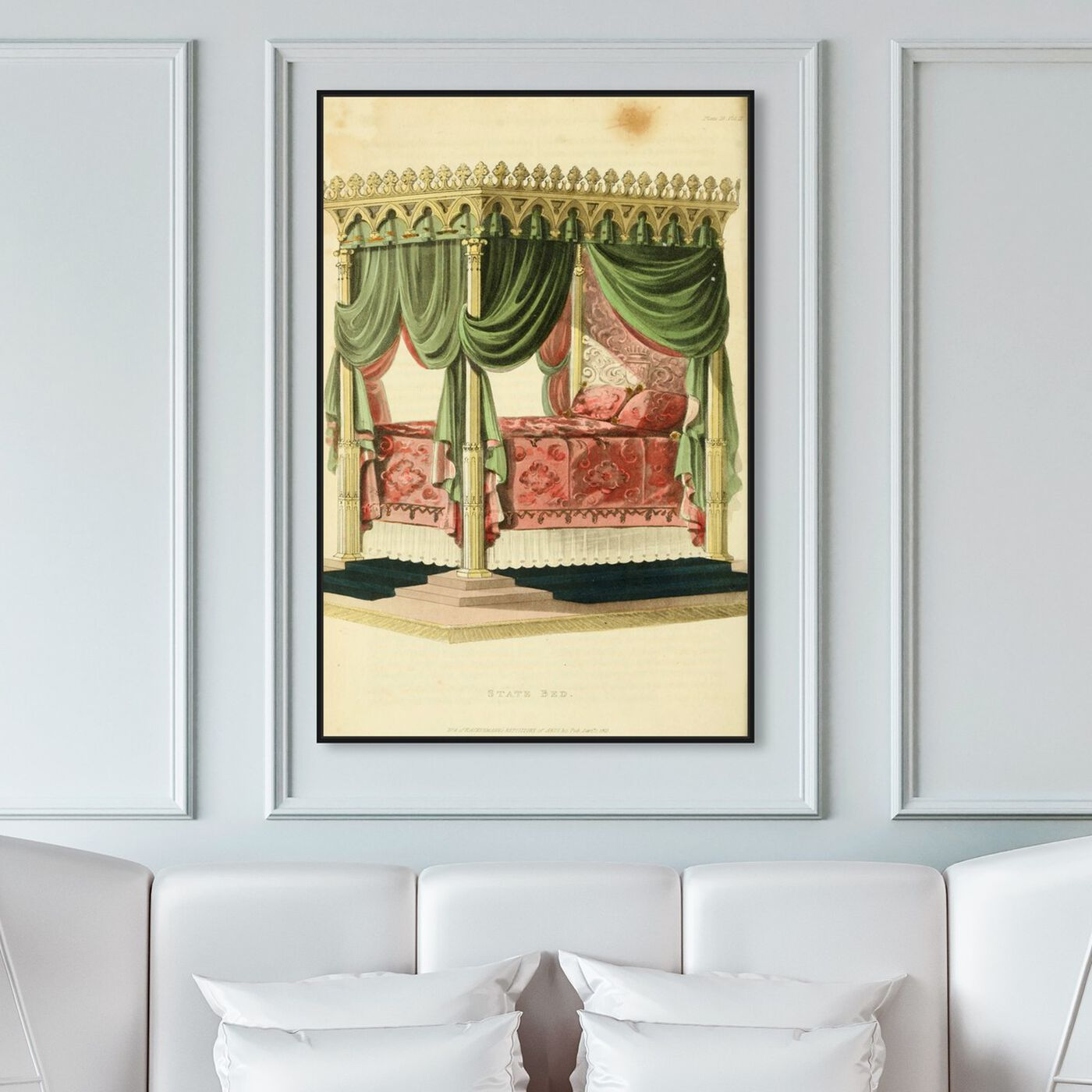 Hanging view of State Bed - The Art Cabinet featuring classic and figurative and french décor art.