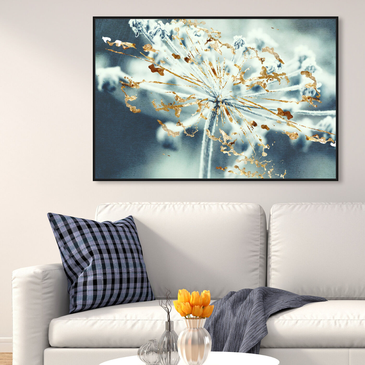 Hanging view of Gold Meadow featuring floral and botanical and florals art.