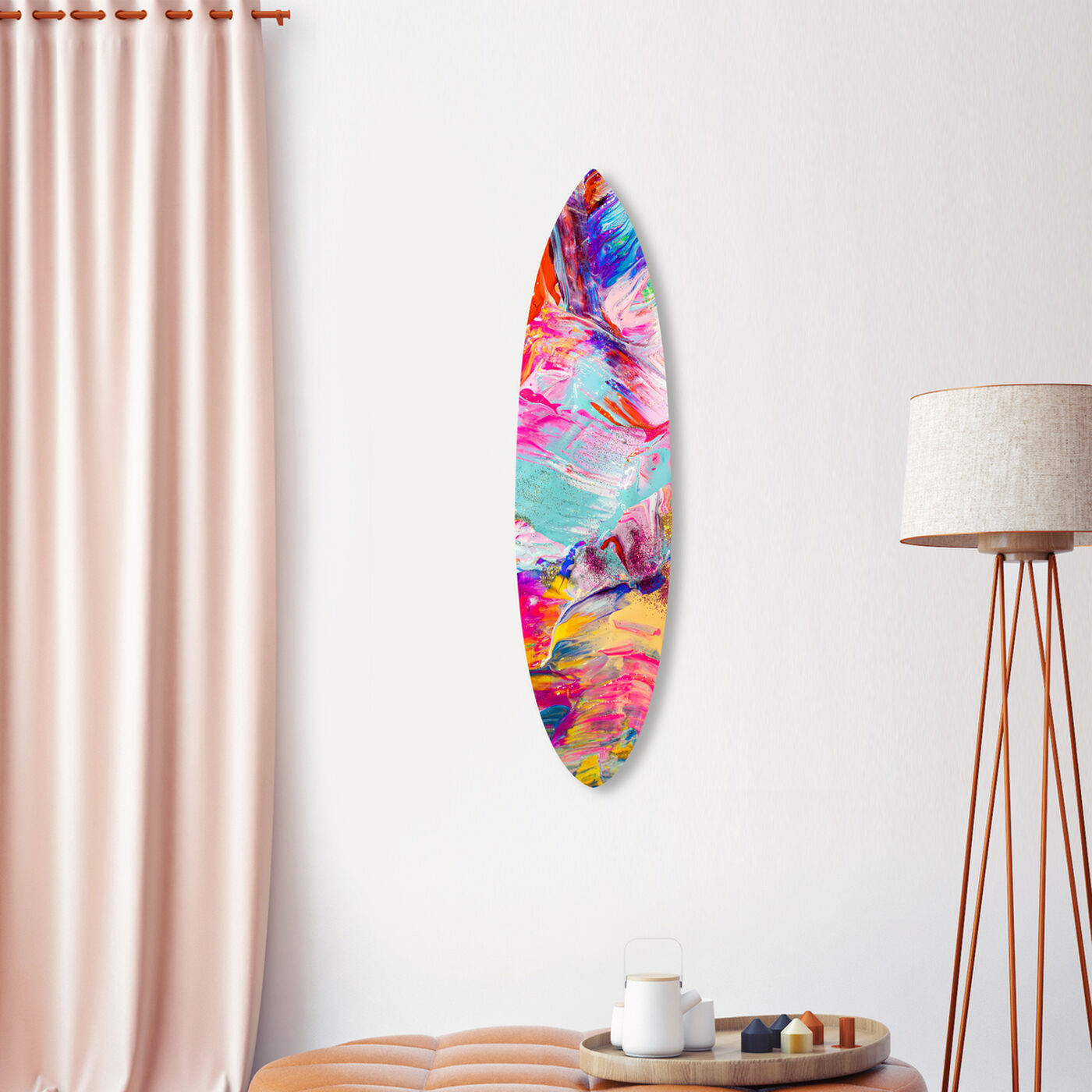 Bright Neon Love Surfboard Flat