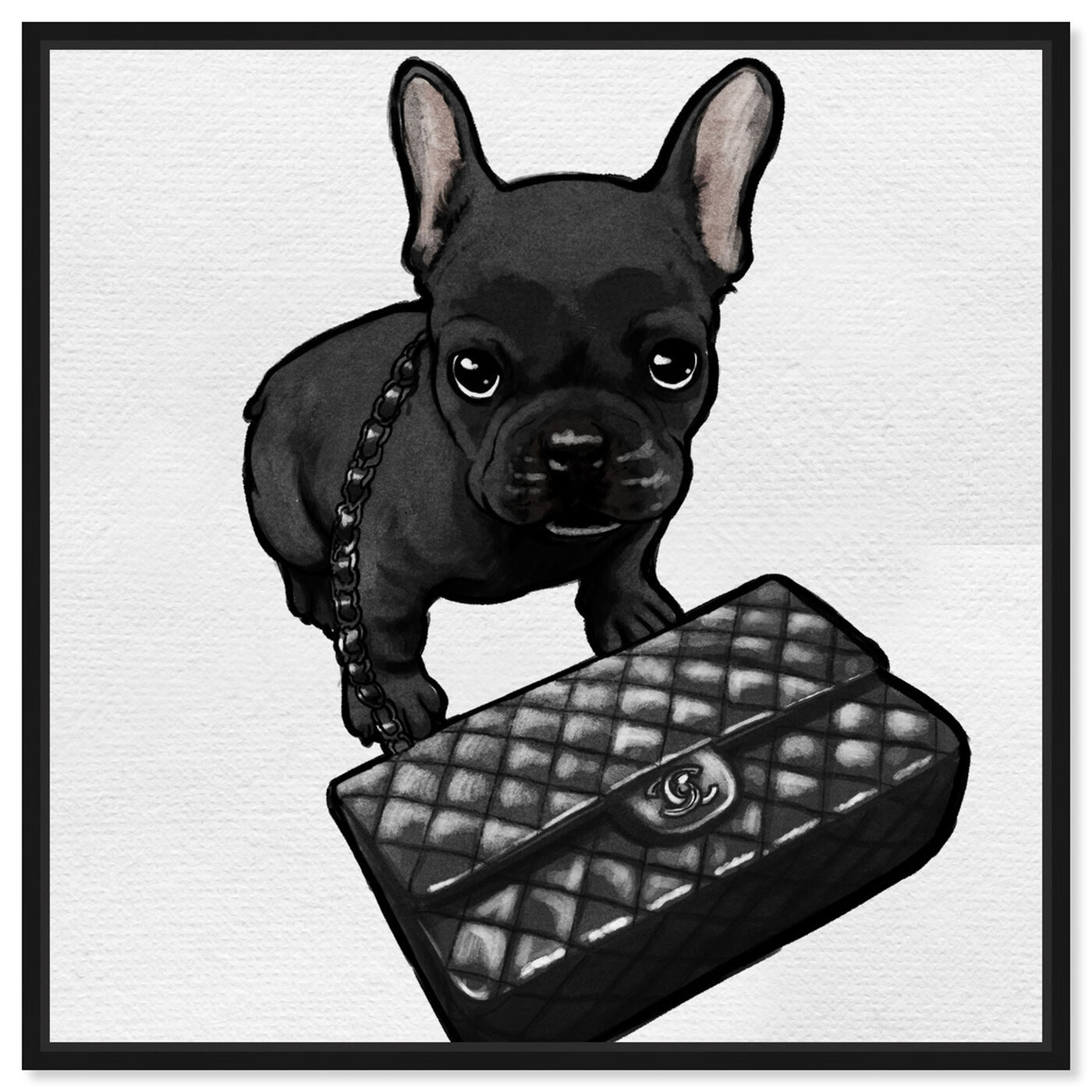 Front view of Classy Frenchie Noir featuring animals and dogs and puppies art.