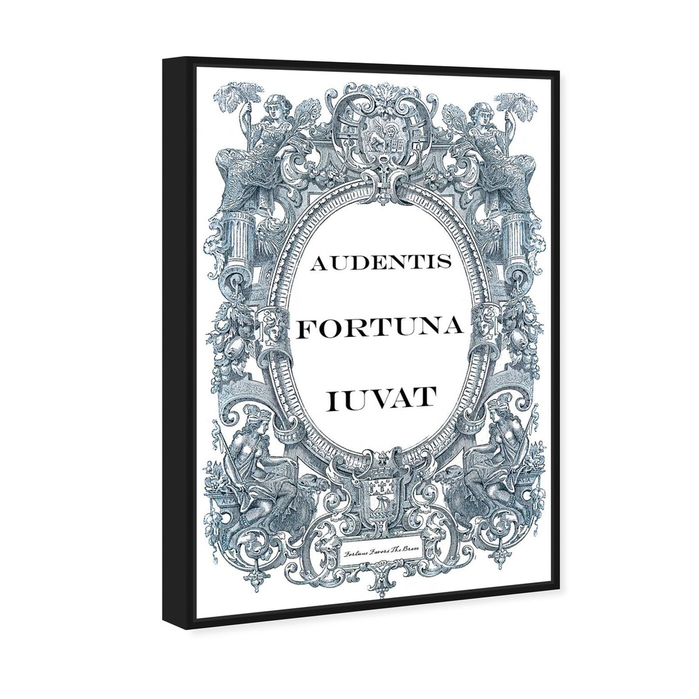 Angled view of Fortune Favors the Brave featuring typography and quotes and motivational quotes and sayings art.