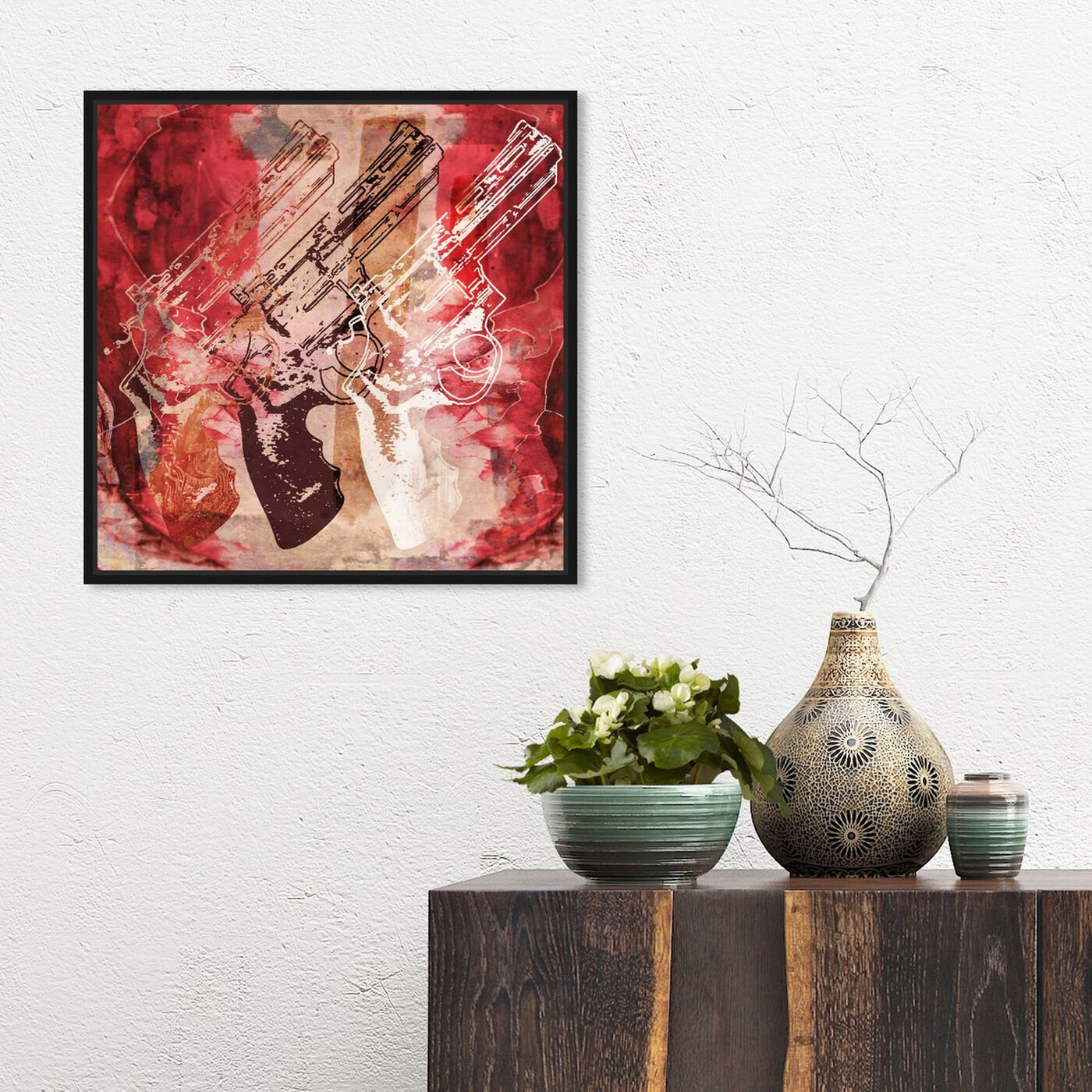 Hanging view of Guns and Roses featuring entertainment and hobbies and machine guns art.