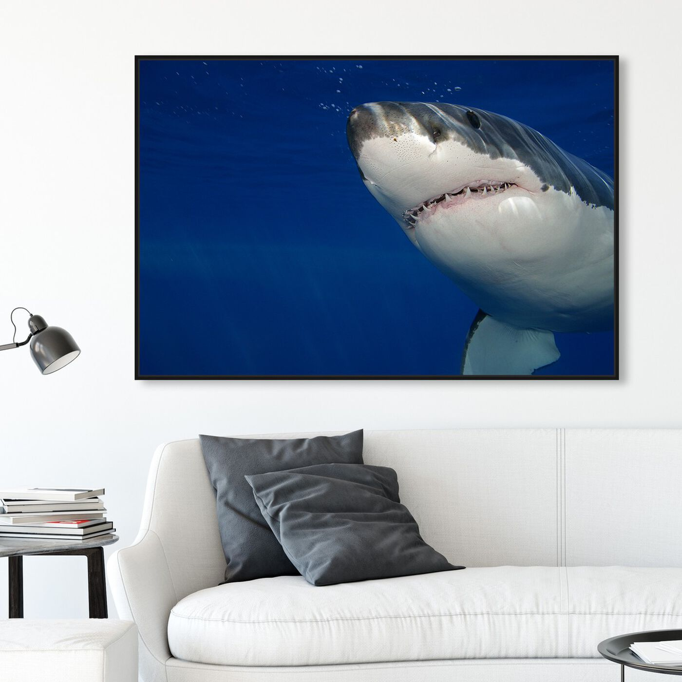 Hanging view of Great White Shark by David Fleetham featuring nautical and coastal and marine life art.