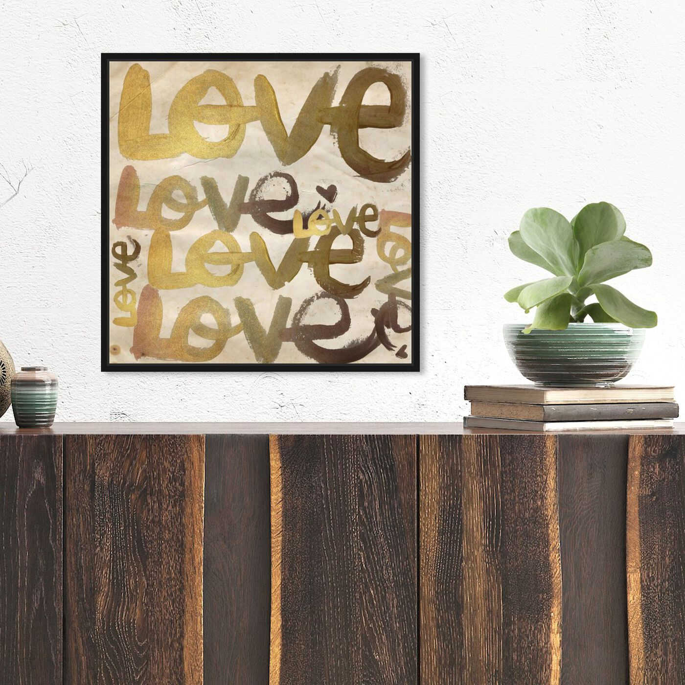 Hanging view of Four Letter Word featuring typography and quotes and love quotes and sayings art.