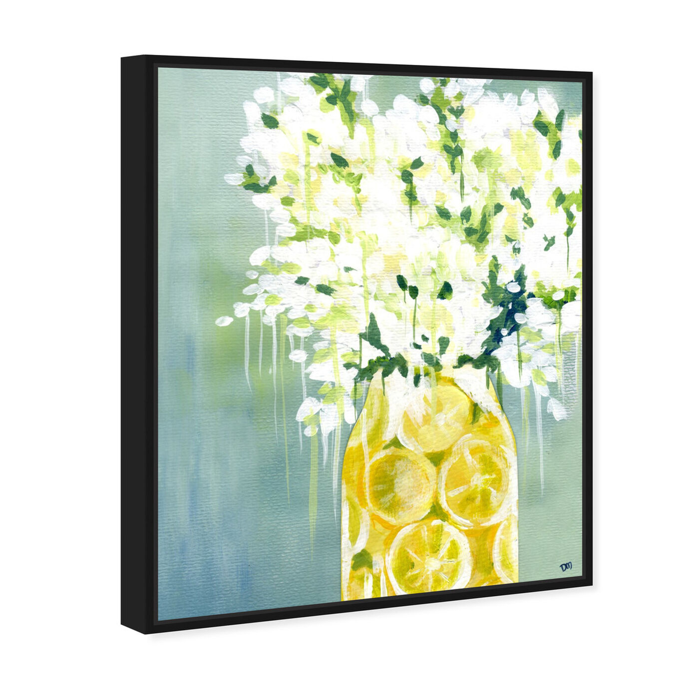 Angled view of Limoncello featuring food and cuisine and fruits art.