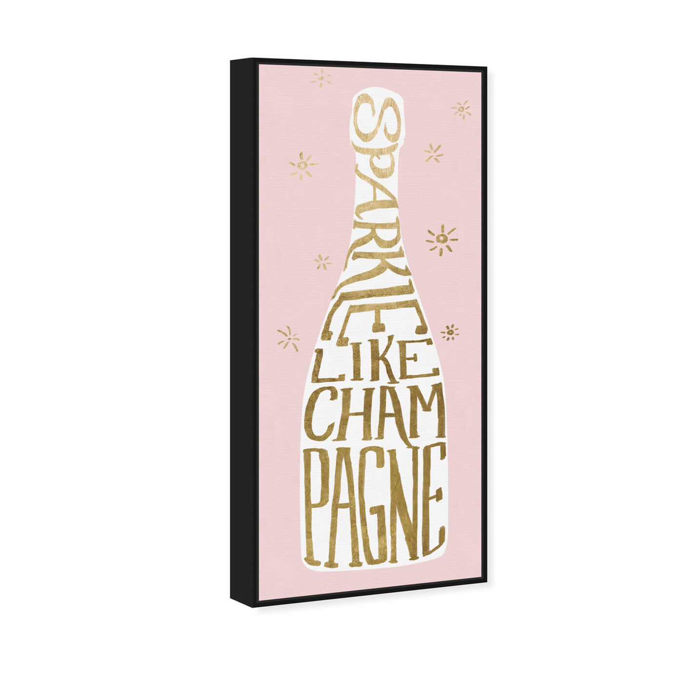 Angled view of Sparkle Like Champagne Pink featuring drinks and spirits and champagne art.