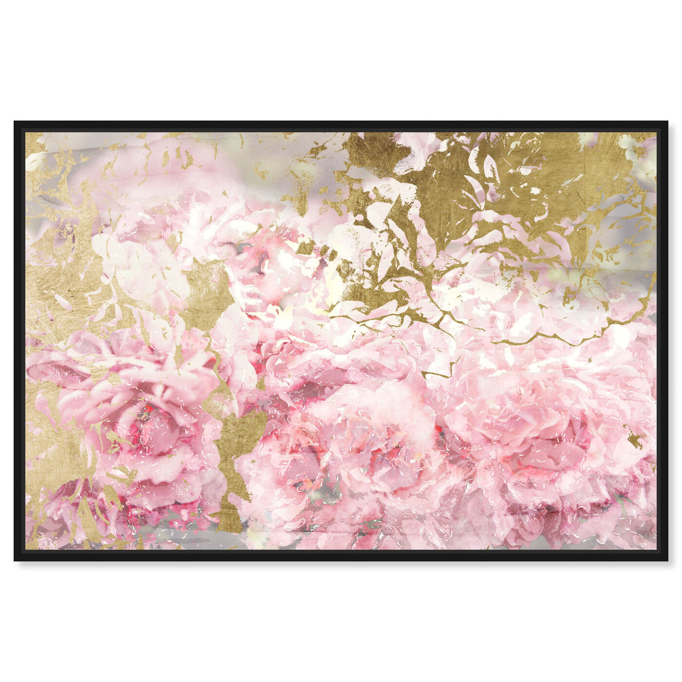 Front view of Pink and Gold Camellias featuring floral and botanical and florals art.