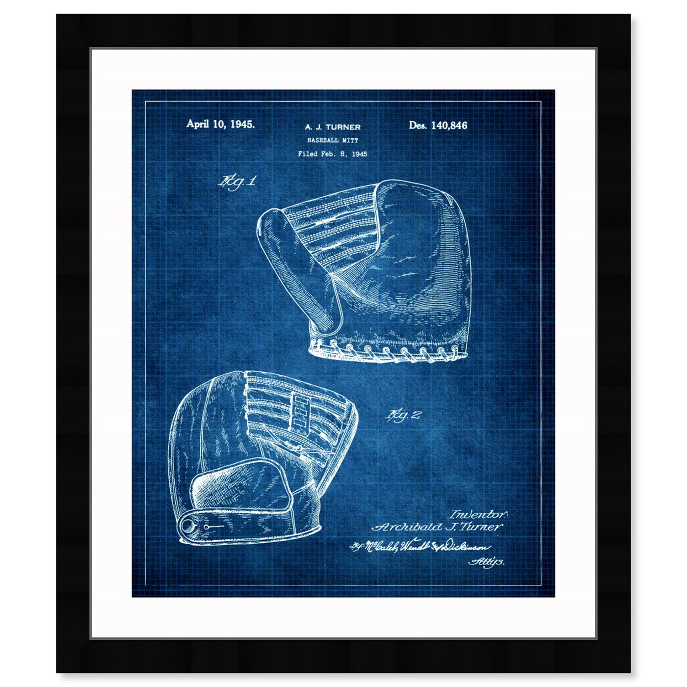 Front view of Baseball Mitt 1945 II featuring sports and teams and baseball art.