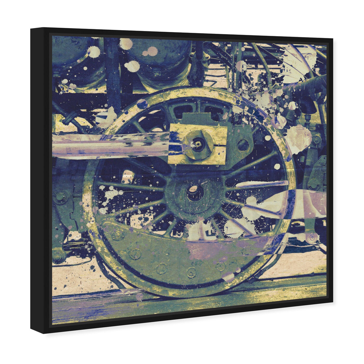 Angled view of Wheel featuring transportation and trains art.