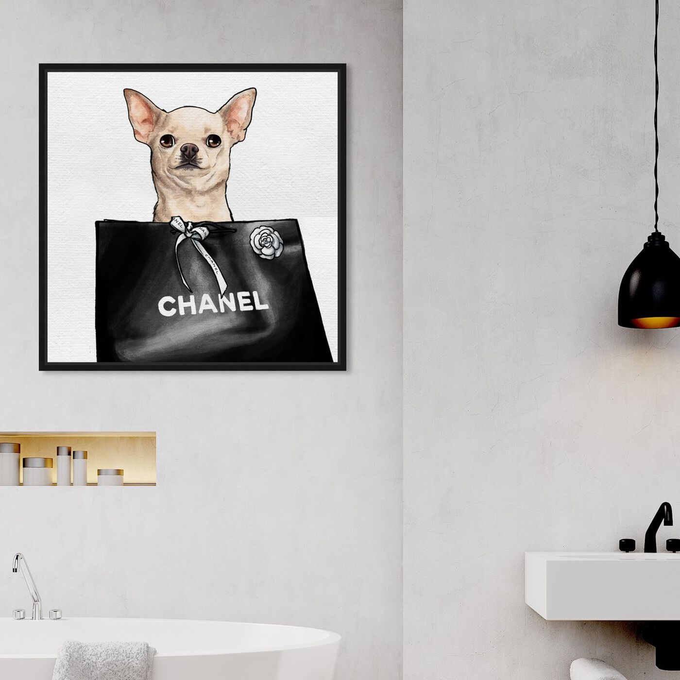 Hanging view of Chihuahua Glam II featuring animals and dogs and puppies art.