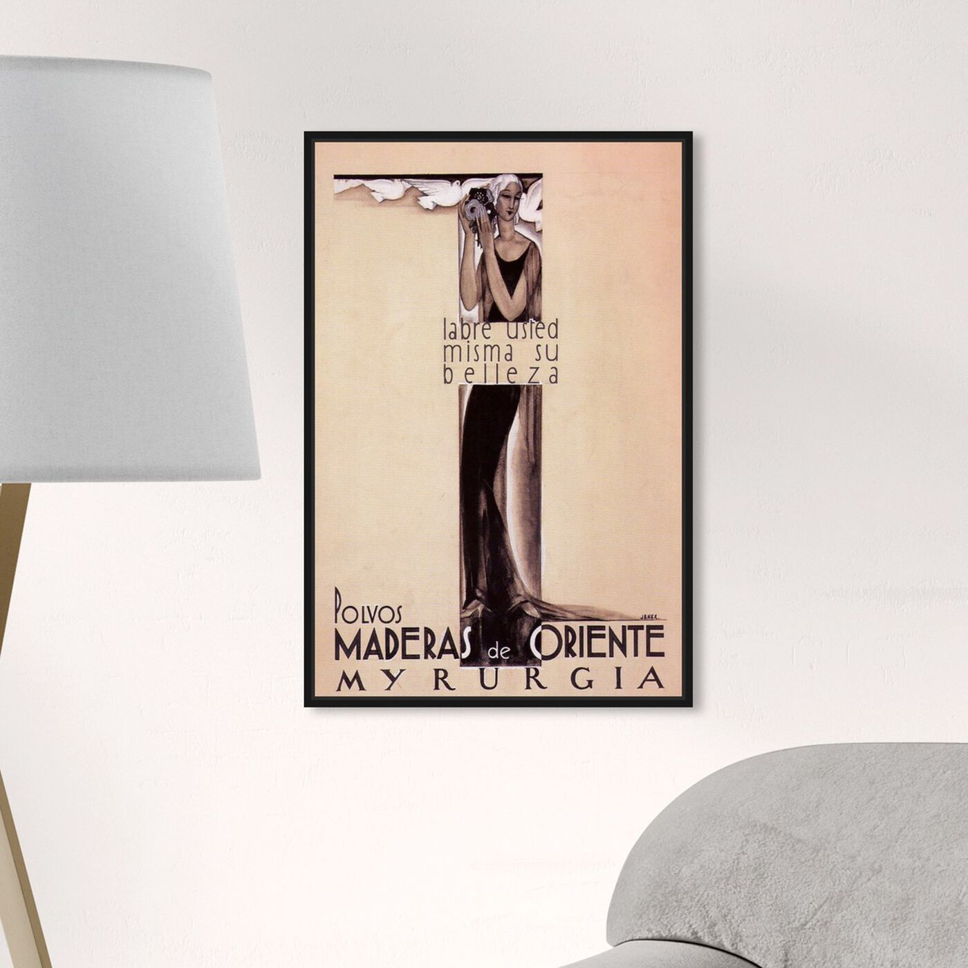 Hanging view of Maderas de Oriente Vintage Ad featuring advertising and posters art.