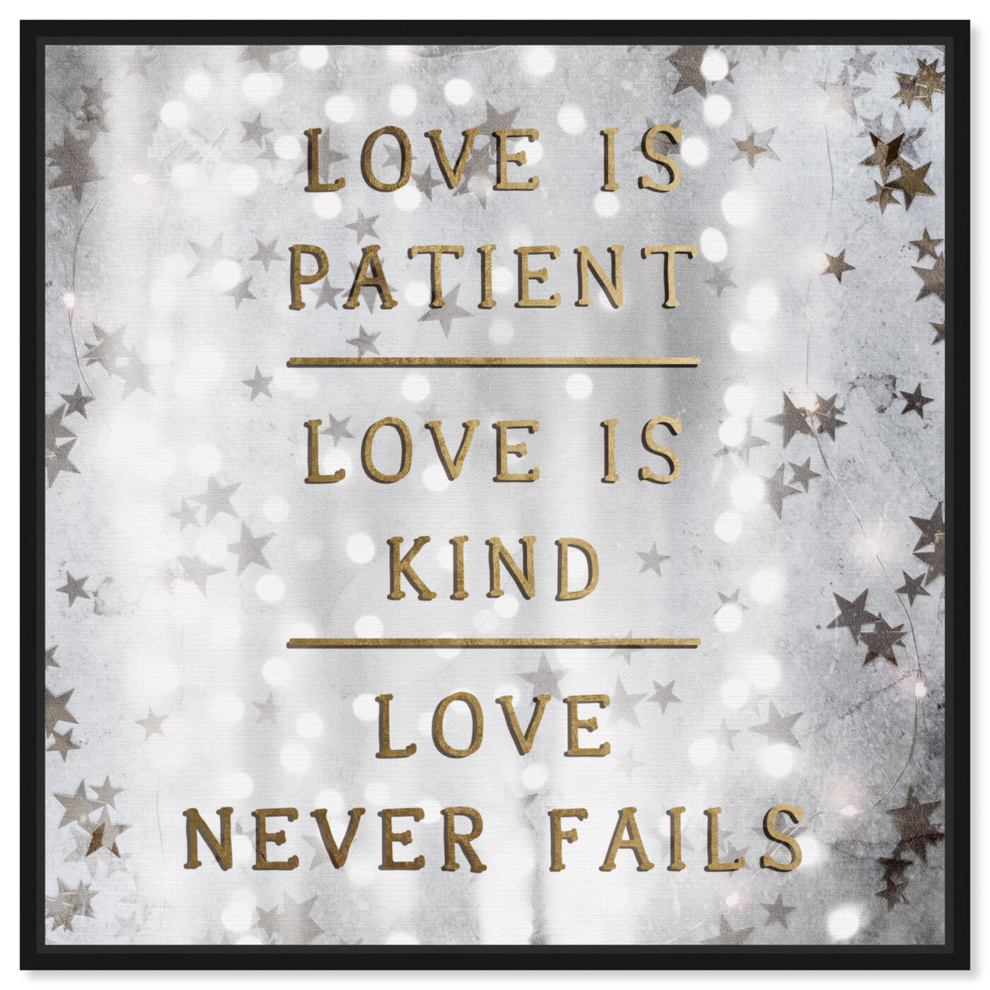 Front view of Love is Patient Love is Kind featuring typography and quotes and love quotes and sayings art.