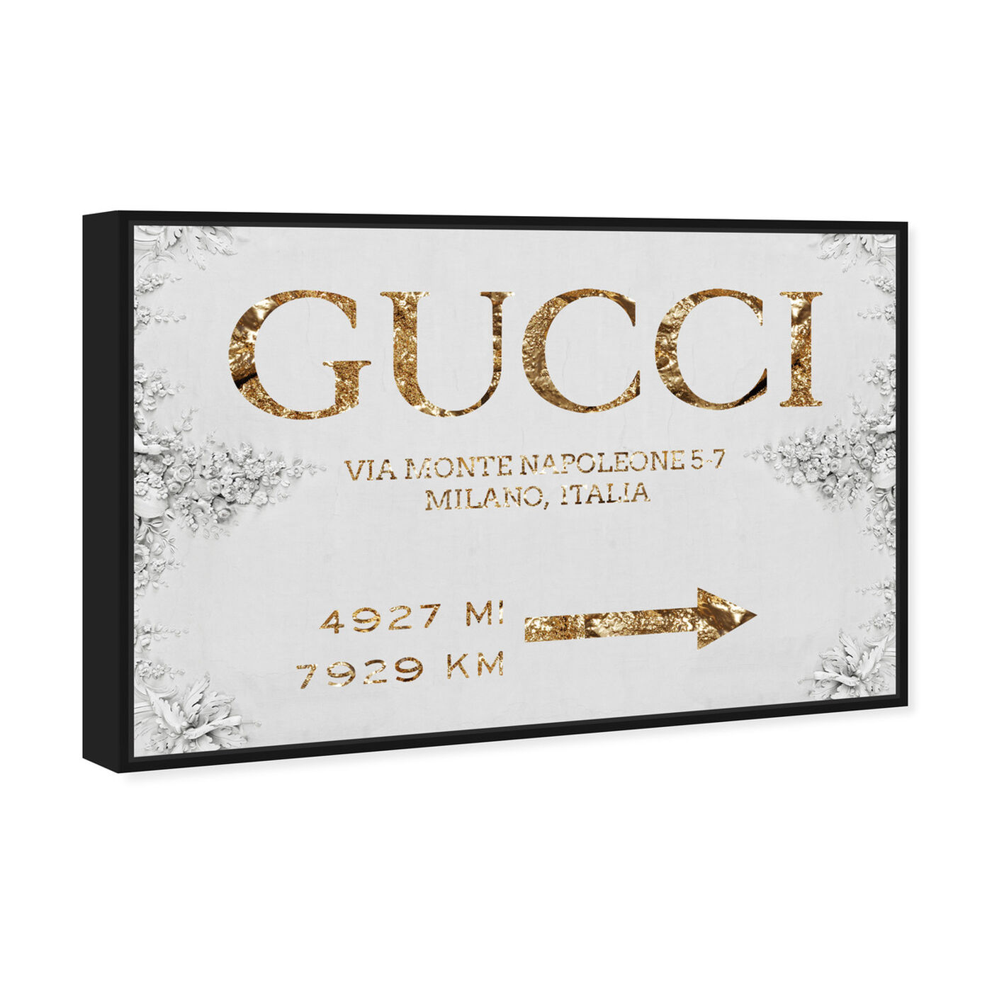 Angled view of Italian Luxe Road Sign featuring fashion and glam and road signs art.