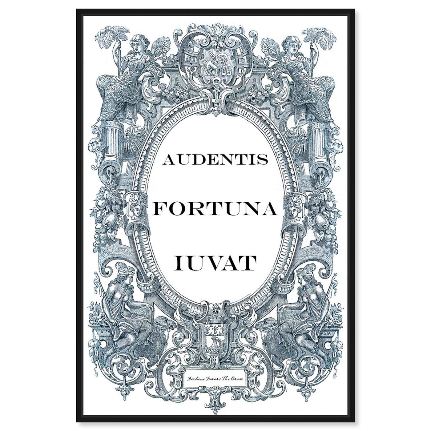 Front view of Fortune Favors the Brave featuring typography and quotes and motivational quotes and sayings art.