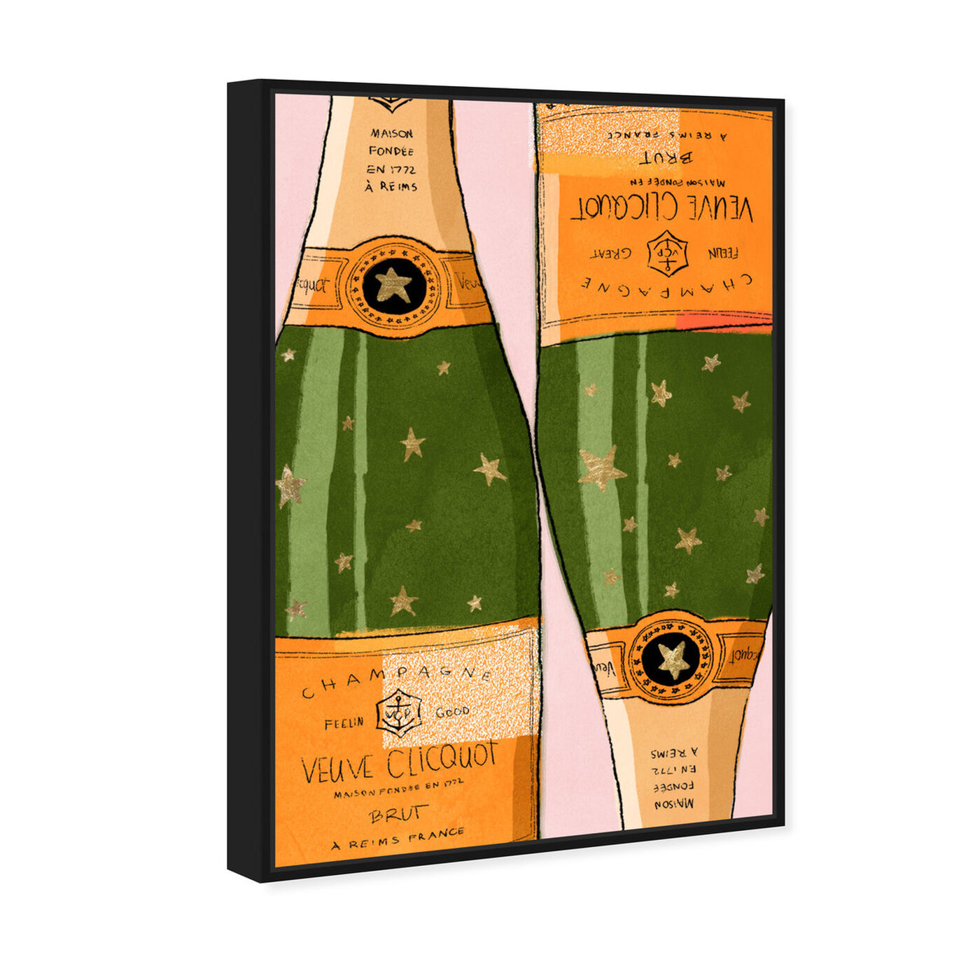Angled view of Shiny Champagne featuring drinks and spirits and champagne art.