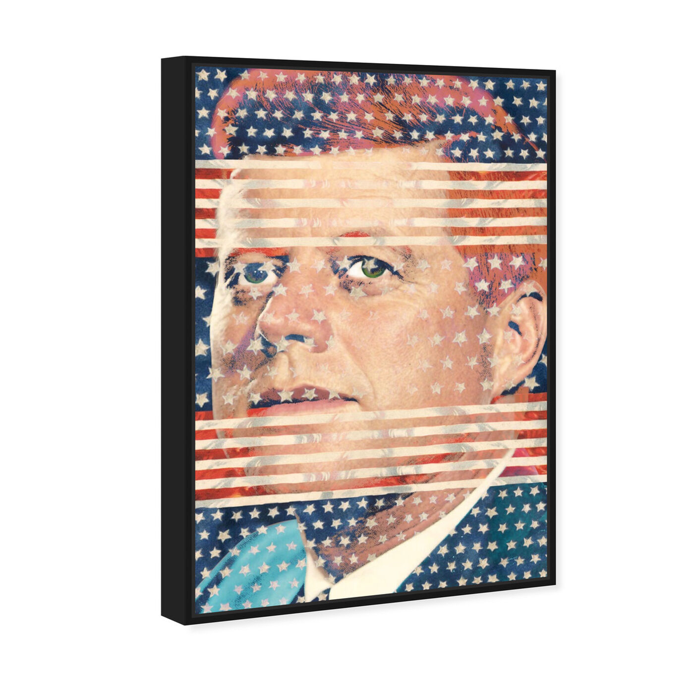 Angled view of JFK featuring americana and patriotic and us presidents art.