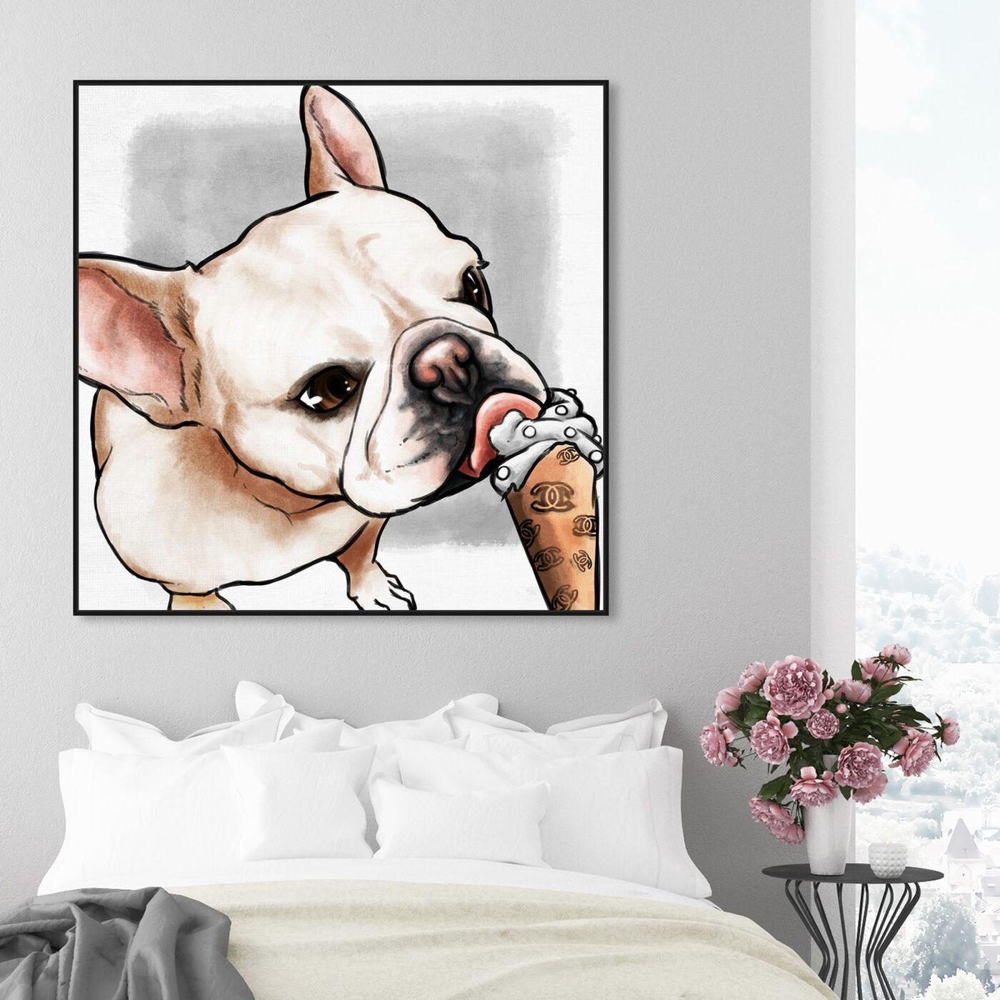 Hanging view of My Favorite Treat Gray featuring animals and dogs and puppies art.