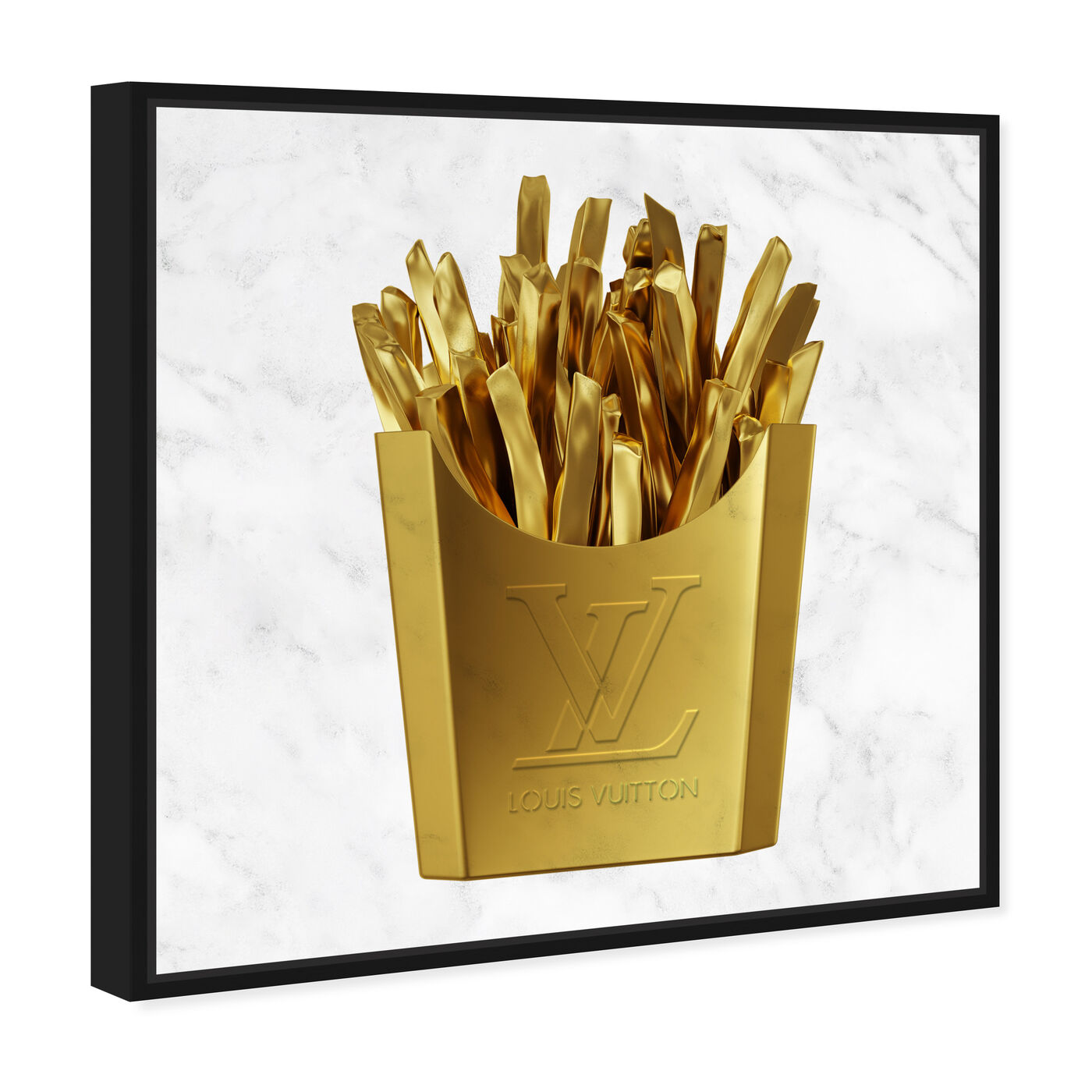 Angled view of Designer Fries featuring fashion and glam and lifestyle art.