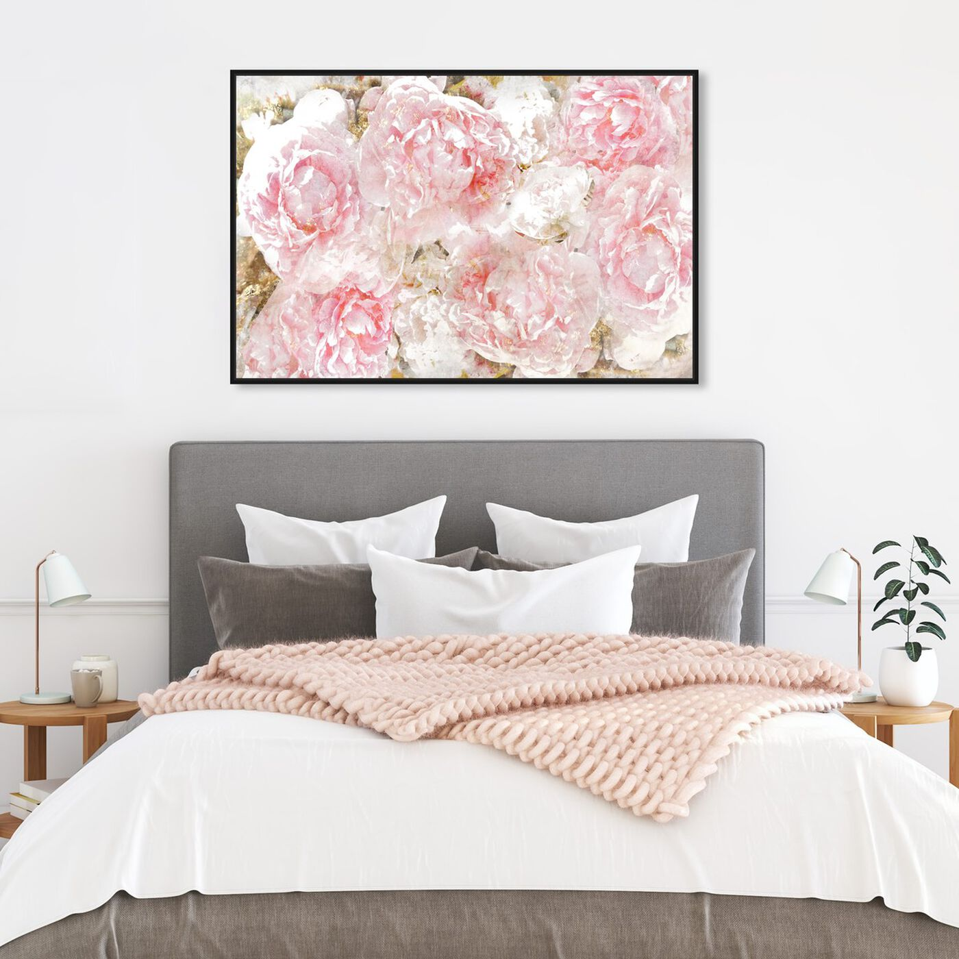 Hanging view of Pile O' Roses featuring floral and botanical and florals art.