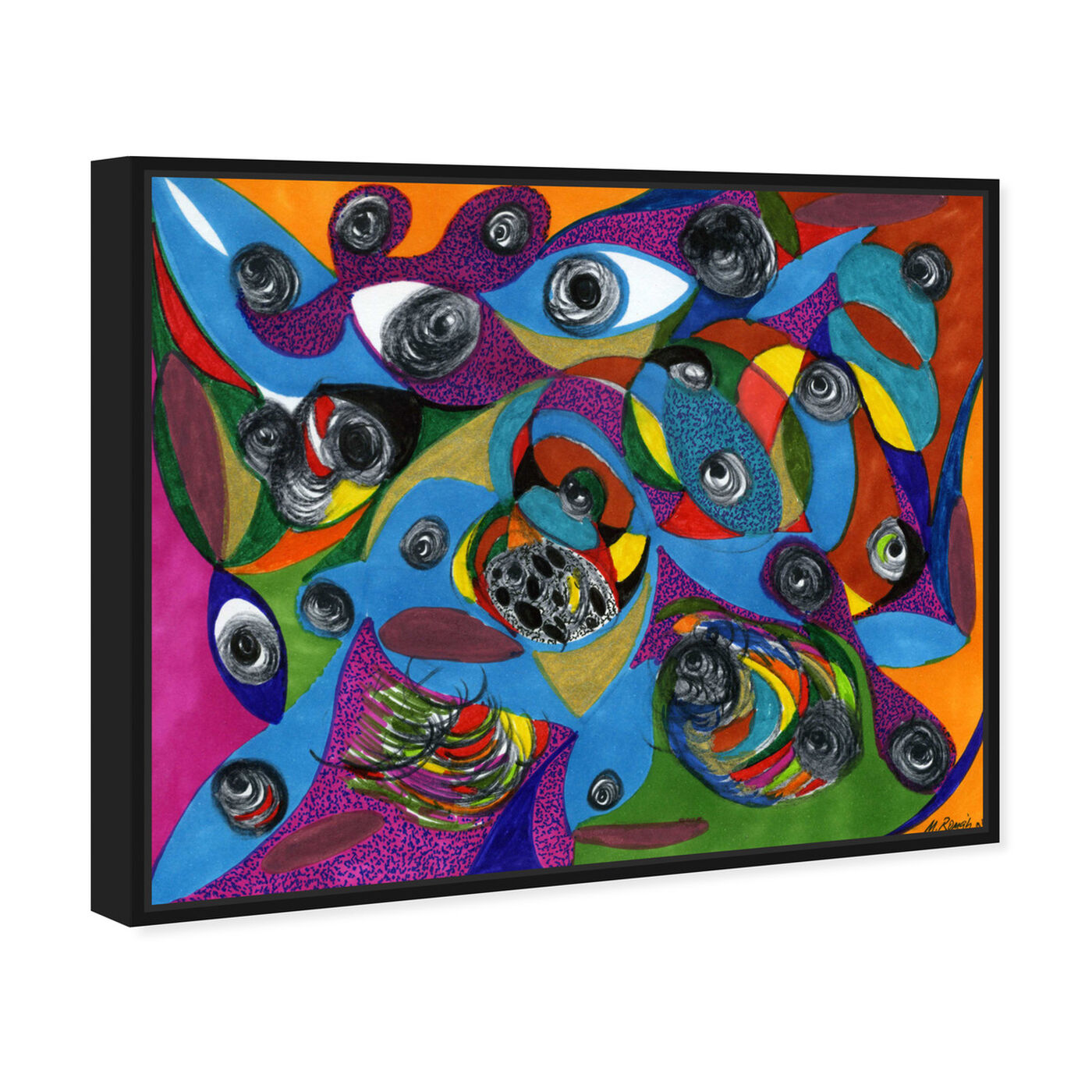 Angled view of Eye See You featuring abstract and geometric art.