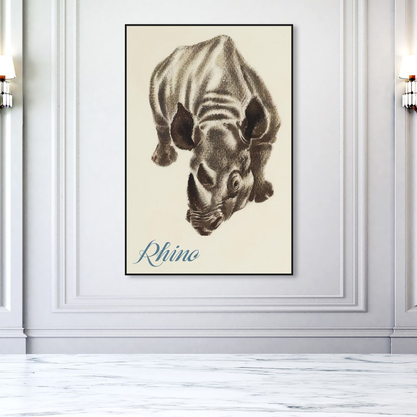 Hanging view of Rhino featuring animals and zoo and wild animals art.