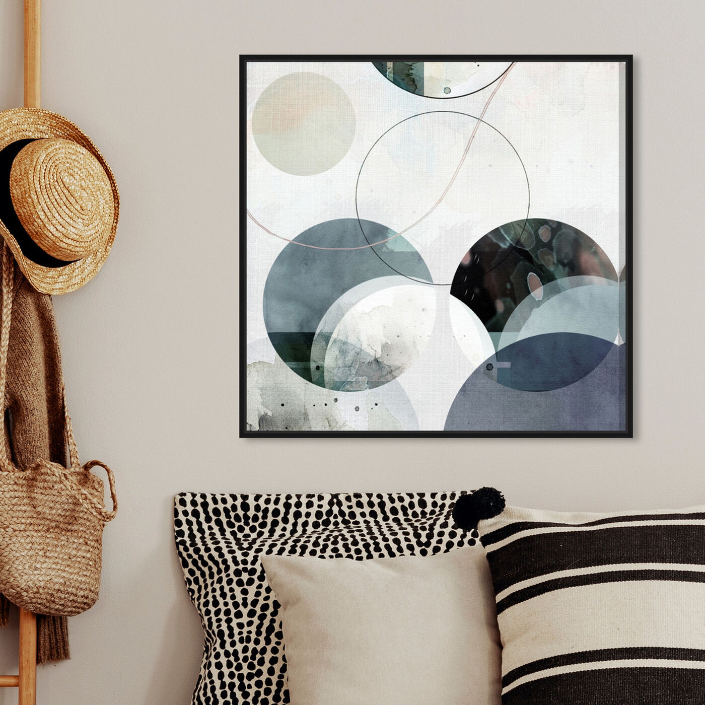 Hanging view of River Stones featuring abstract and geometric art.