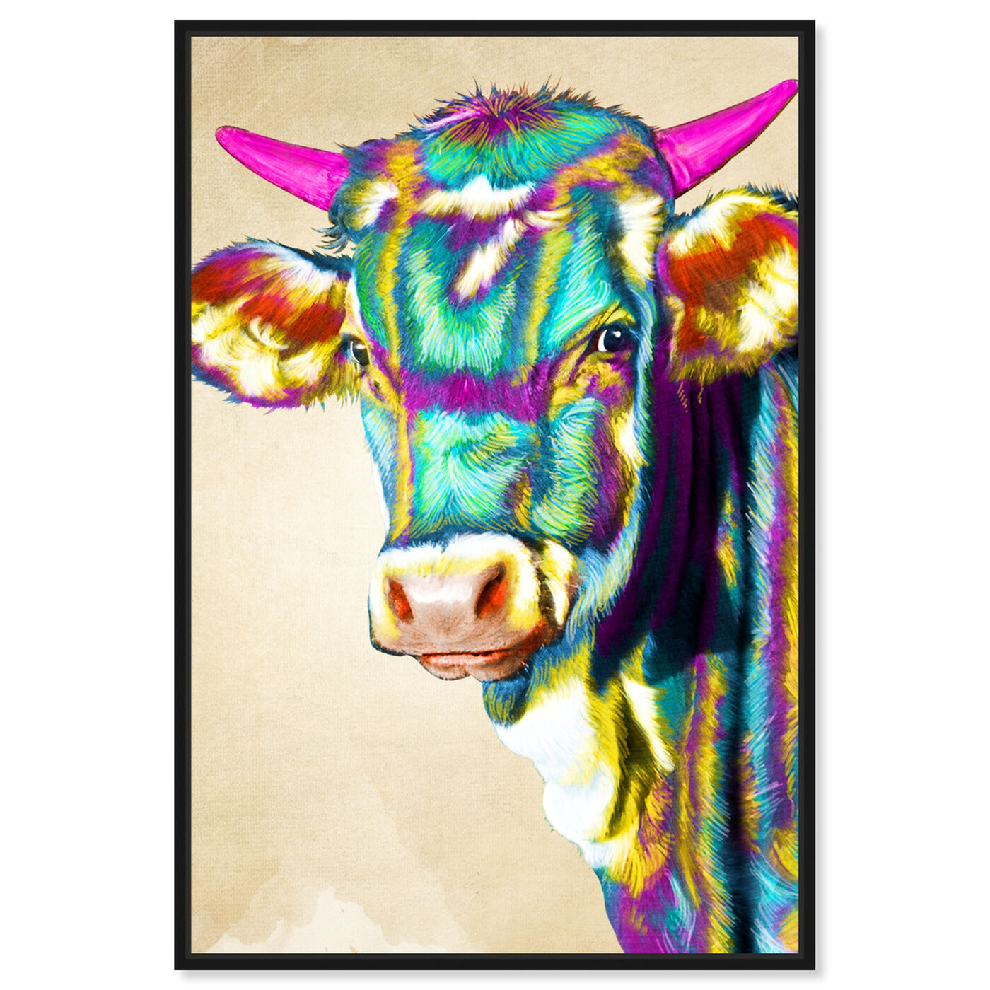 Front view of Color Glam Cow featuring animals and farm animals art.
