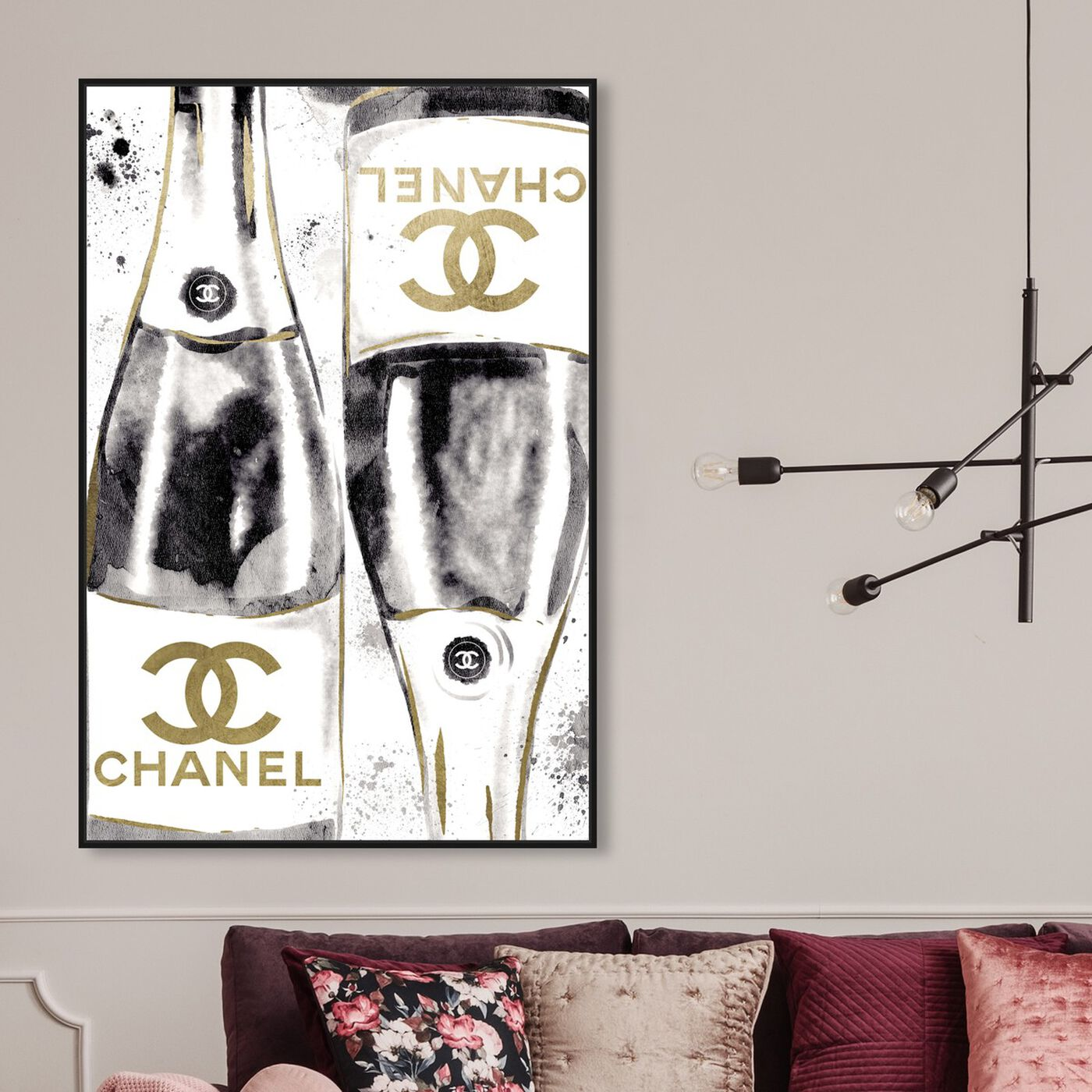 Hanging view of Inkwash Champagne featuring fashion and glam and lifestyle art.