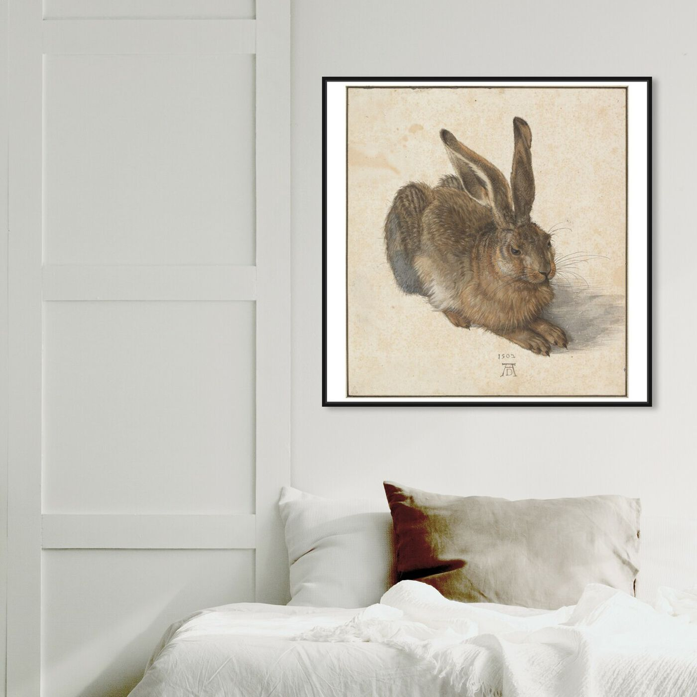 Hanging view of Durer - Hare featuring animals and farm animals art.