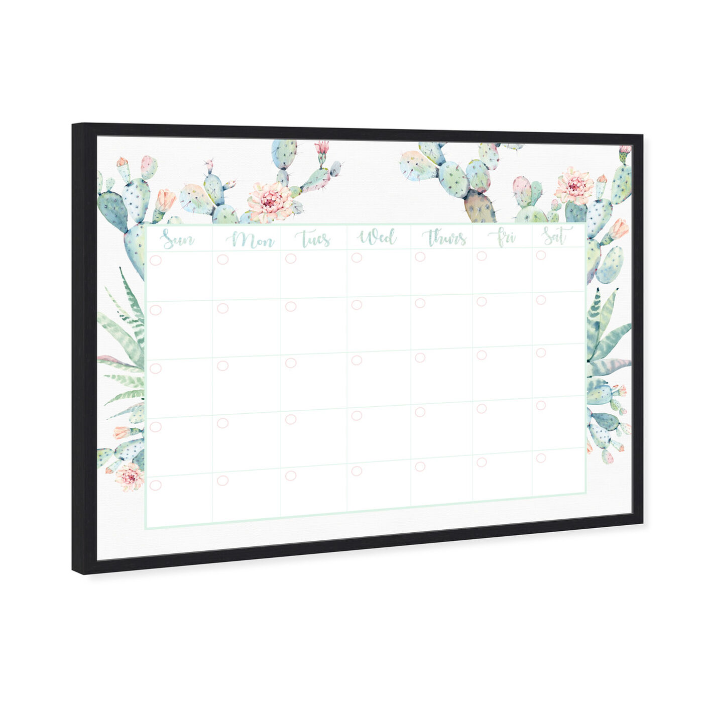 Angled view of Cactus Monthly Calendar featuring education and office and whiteboards art.