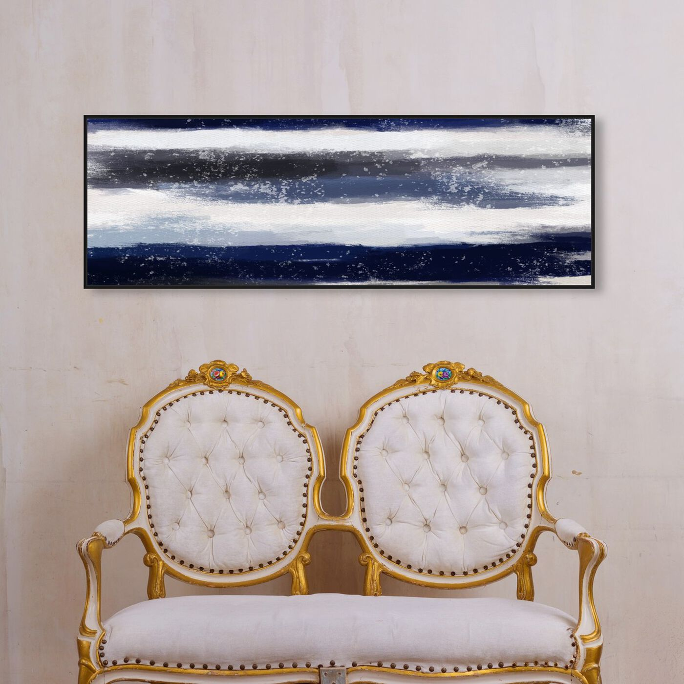 Hanging view of Sapphire Shades Long Horizon featuring abstract and shapes art.