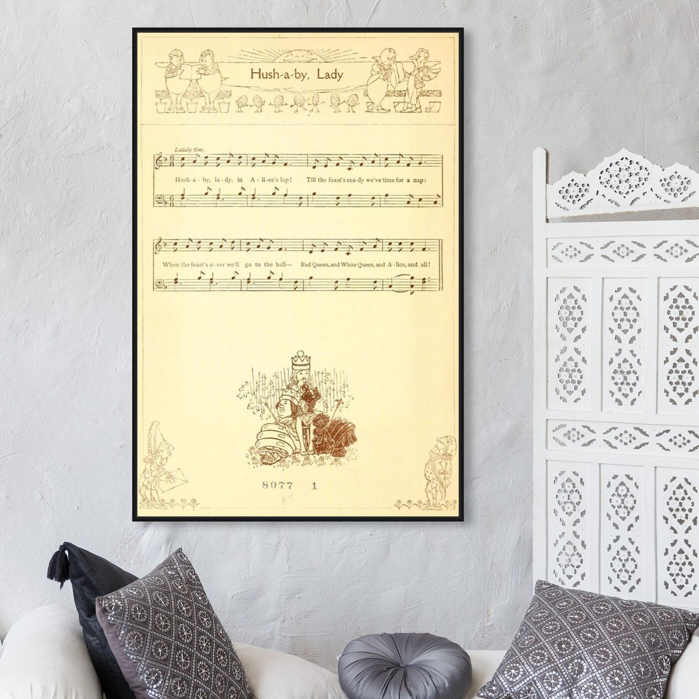Hanging view of Hush A By Lady featuring music and dance and music notes art.