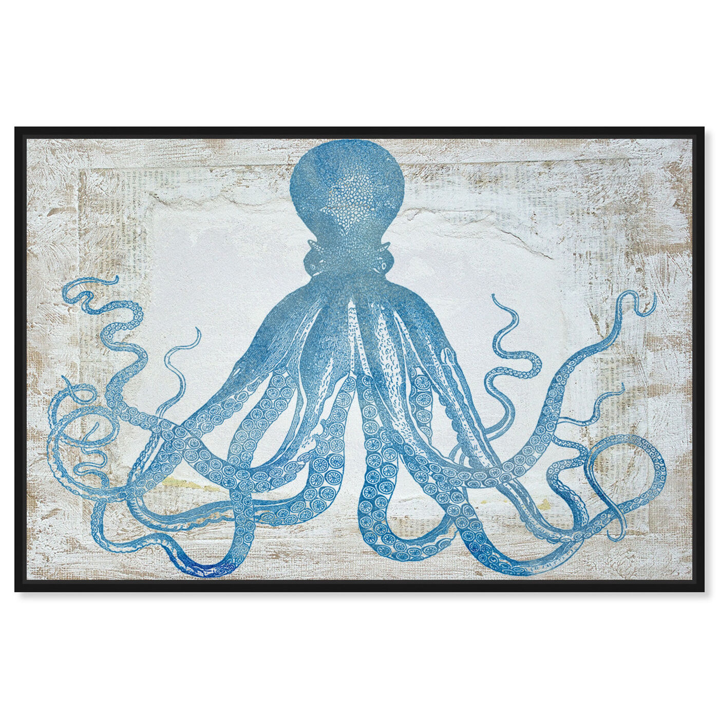 Front view of Squid Blue featuring nautical and coastal and marine life art.