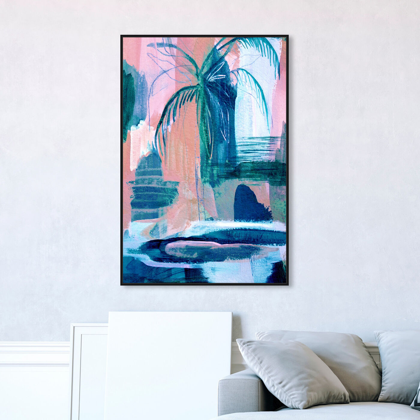 Hanging view of Tropical Palm Tree featuring floral and botanical and botanicals art.