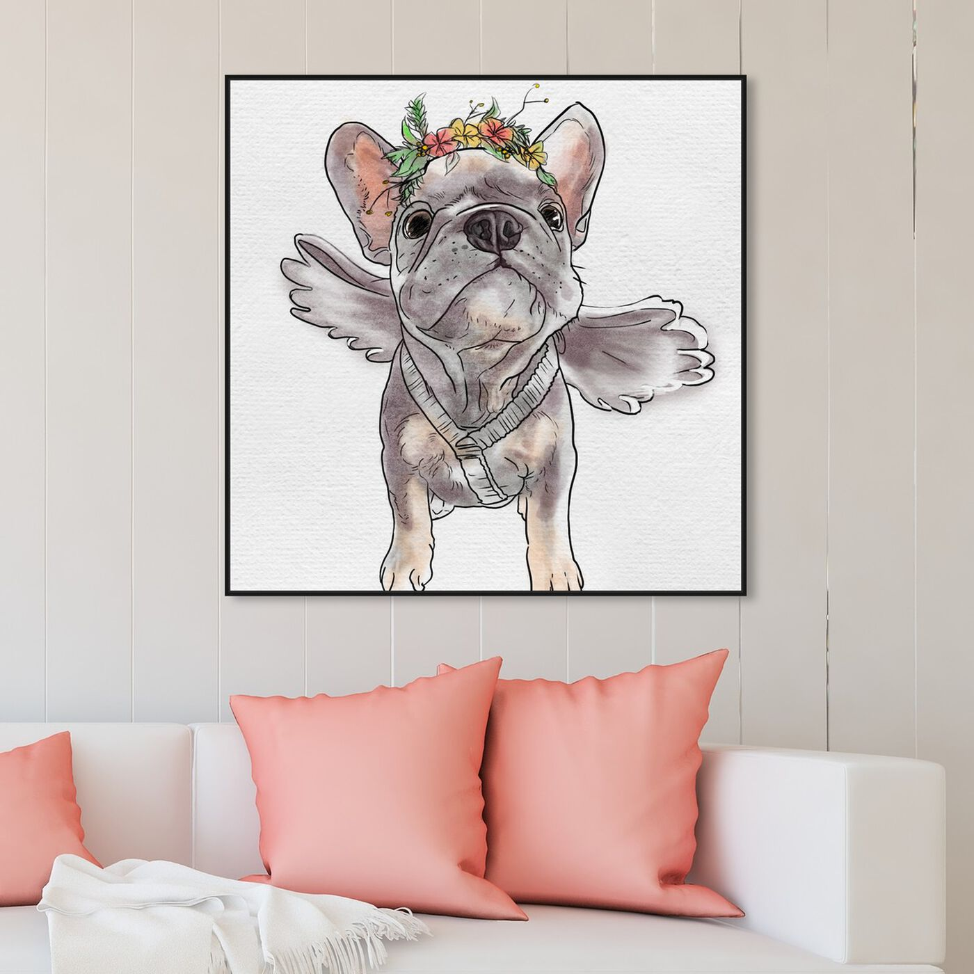 Hanging view of Frenchie Angel featuring animals and dogs and puppies art.
